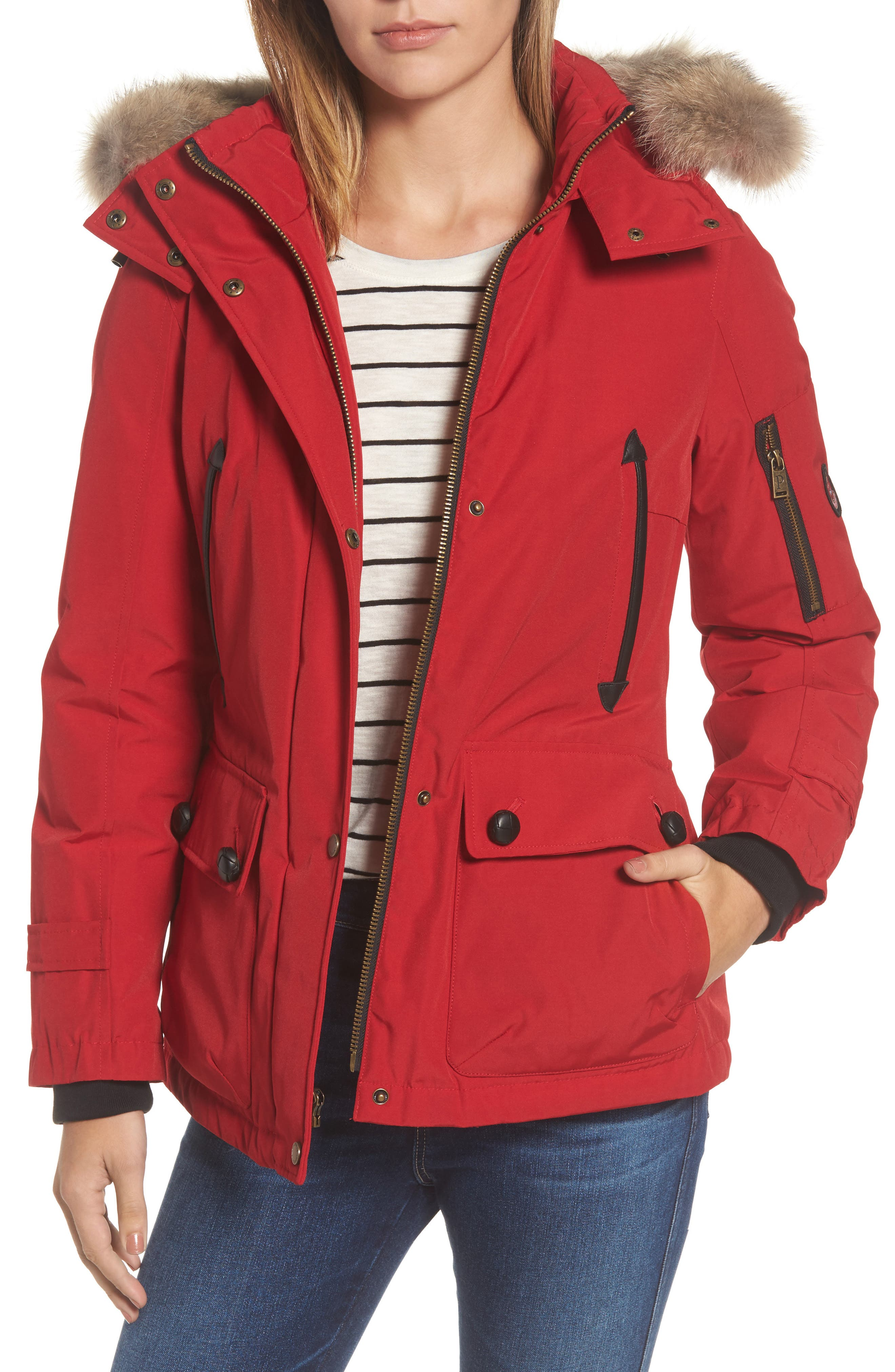 Bachelor Water Repellent Hooded Down Parka with Genuine Coyote Fur Trim,                             Main thumbnail 4, color,