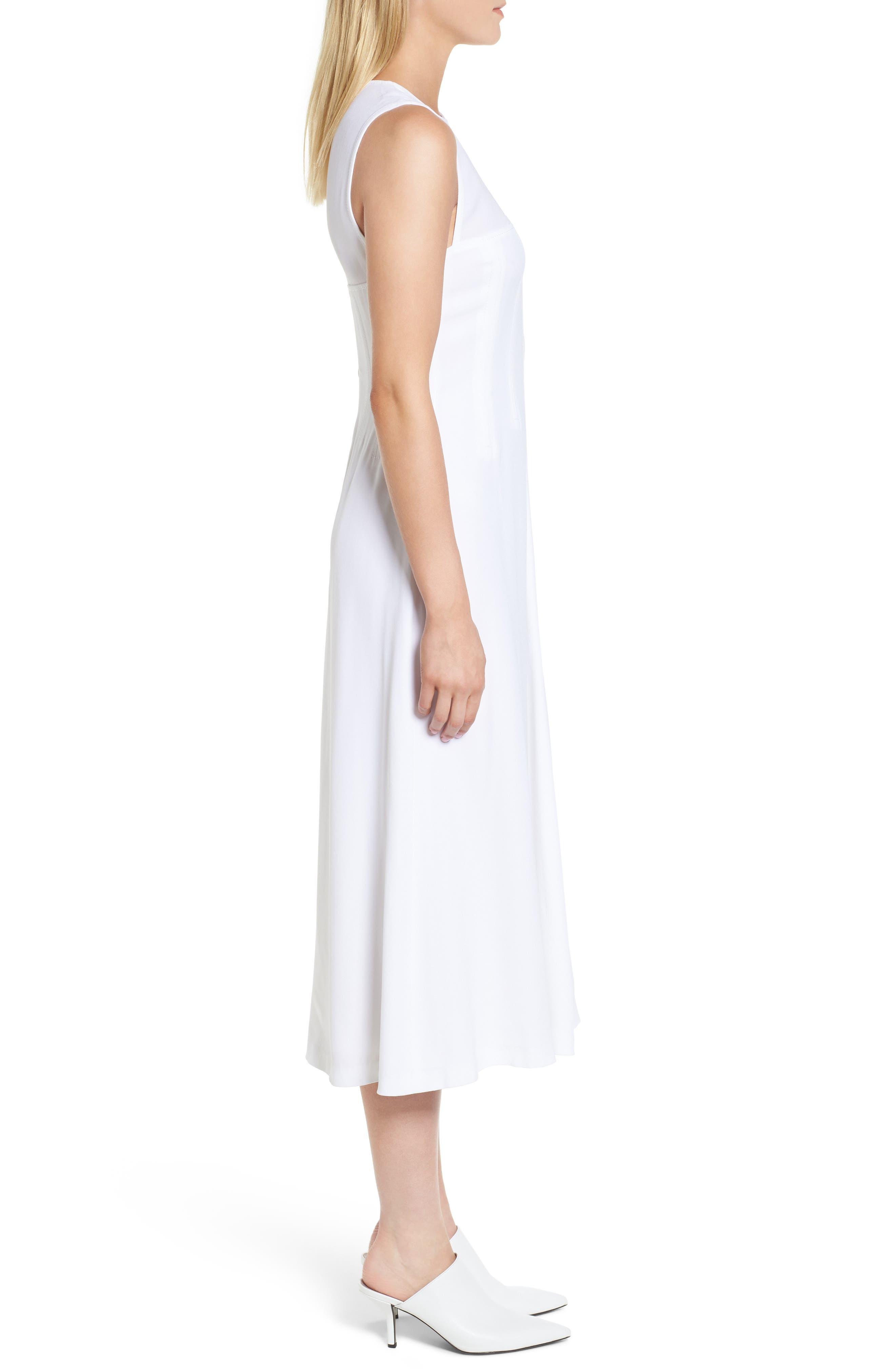 Corset Detail Midi Dress,                             Alternate thumbnail 3, color,                             100