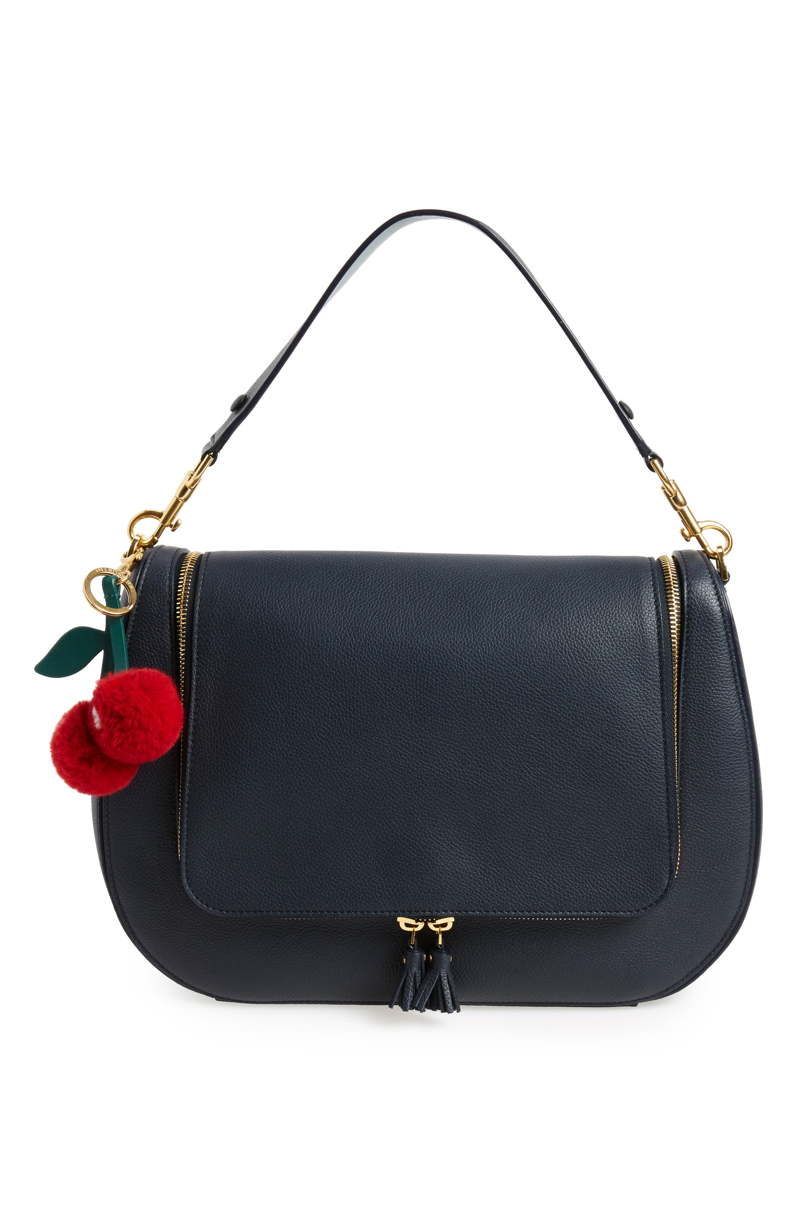 Cherry Genuine Rabbit Fur Bag Charm,                             Alternate thumbnail 2, color,                             620