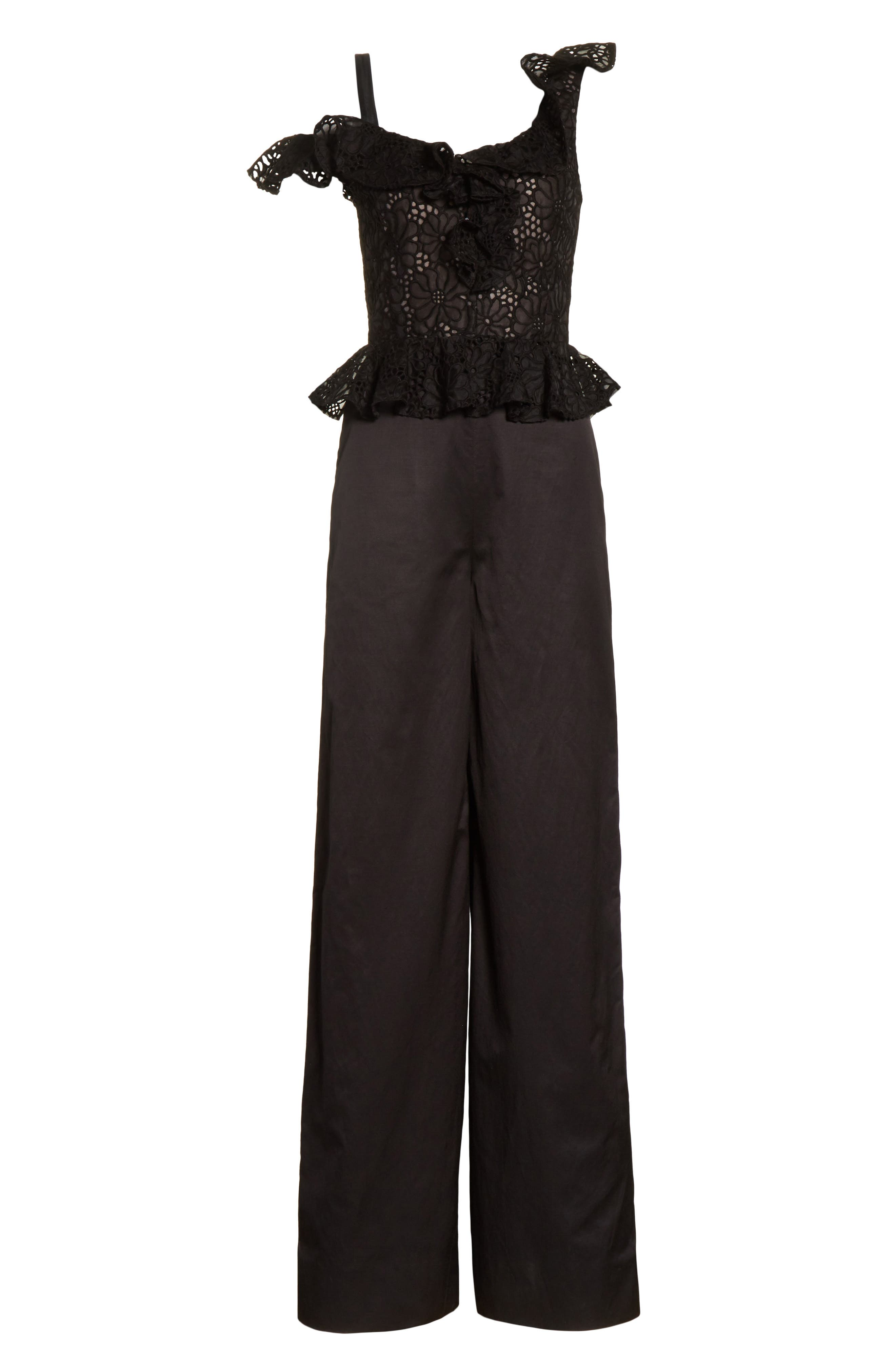 Malorie Off the Shoulder Embroidered Silk Jumpsuit,                             Alternate thumbnail 6, color,                             001