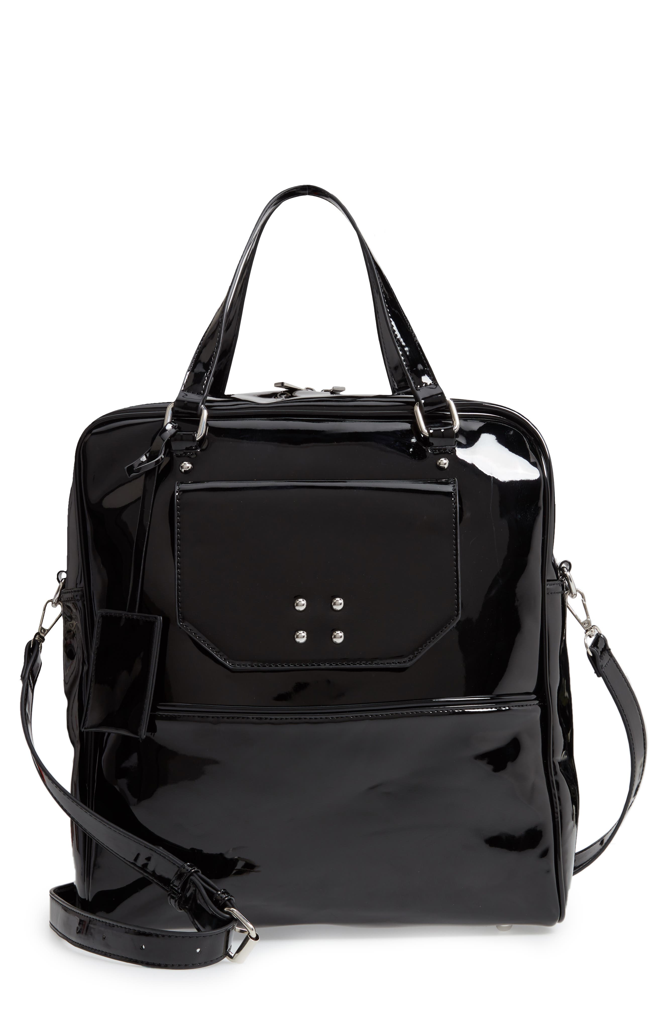 Glossy Faux Leather Structured Tote Bag,                             Main thumbnail 1, color,                             BLACK