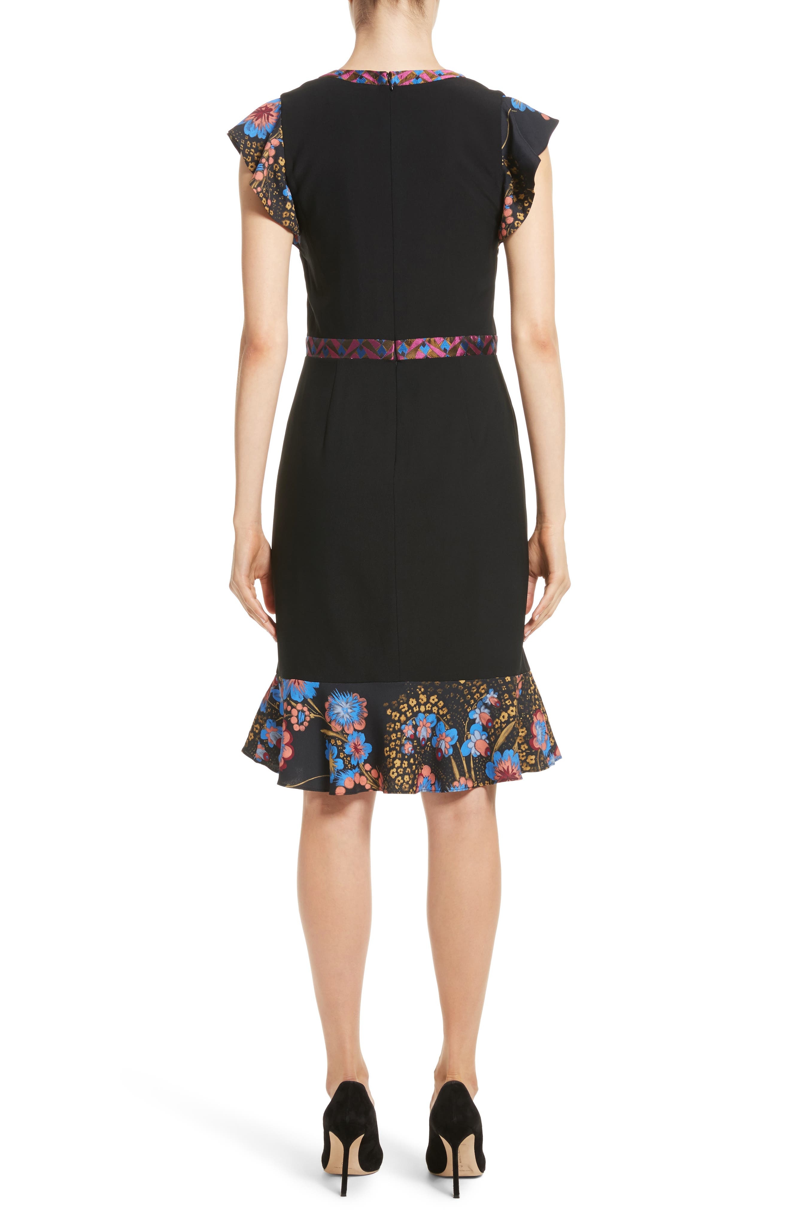 Flutter Sleeve Sheath Dress,                             Alternate thumbnail 2, color,                             001