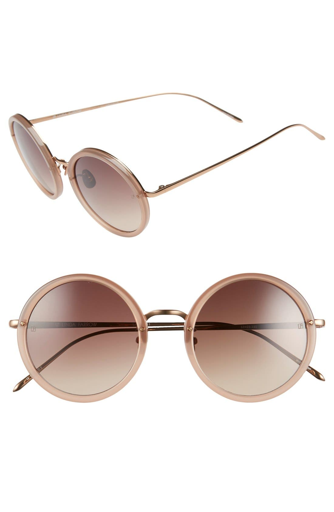 51mm Round 18 Karat Rose Gold Sunglasses,                             Main thumbnail 2, color,
