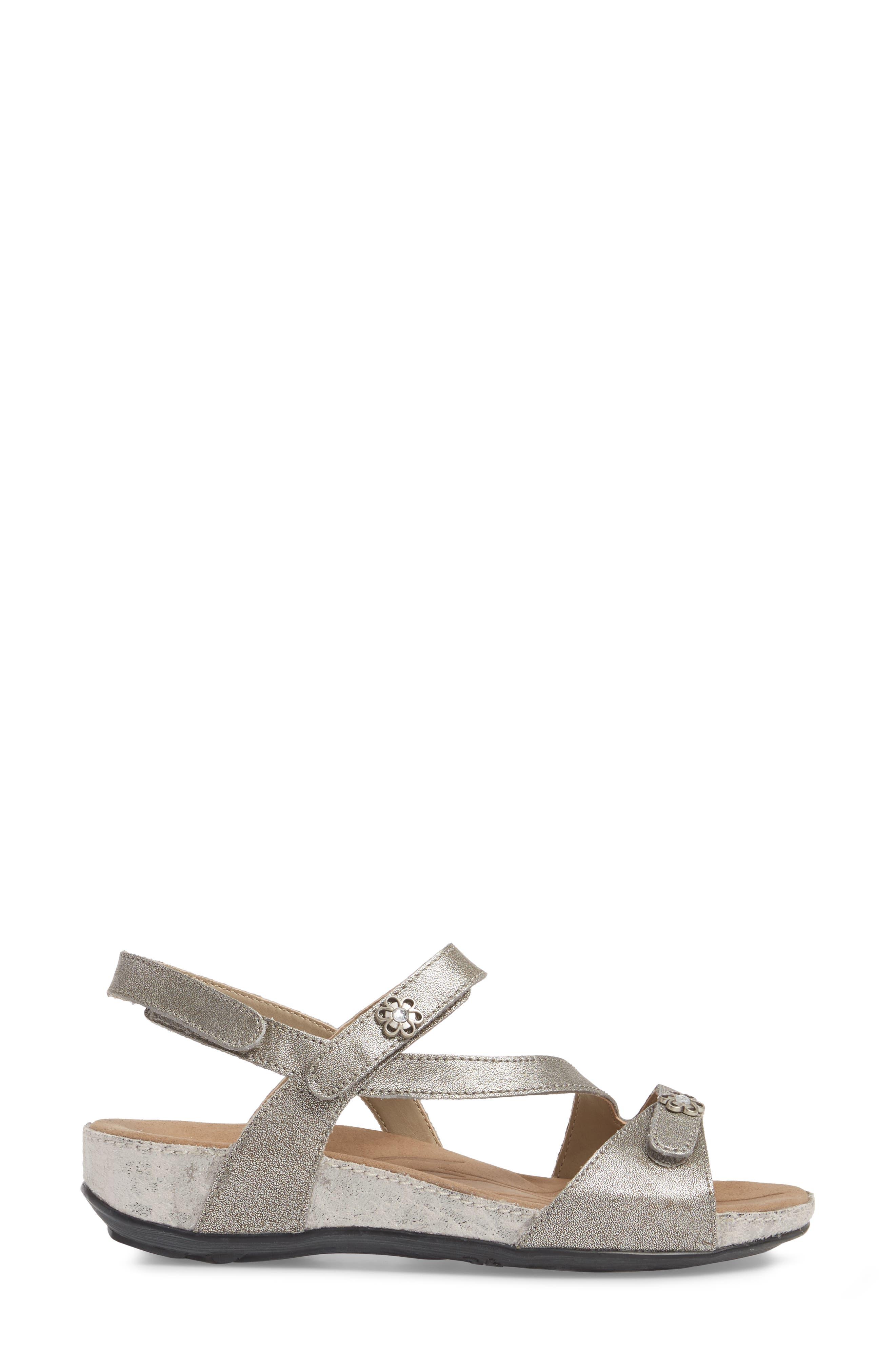 Fidschi 54 Sandal,                             Alternate thumbnail 3, color,                             PLATINUM LEATHER