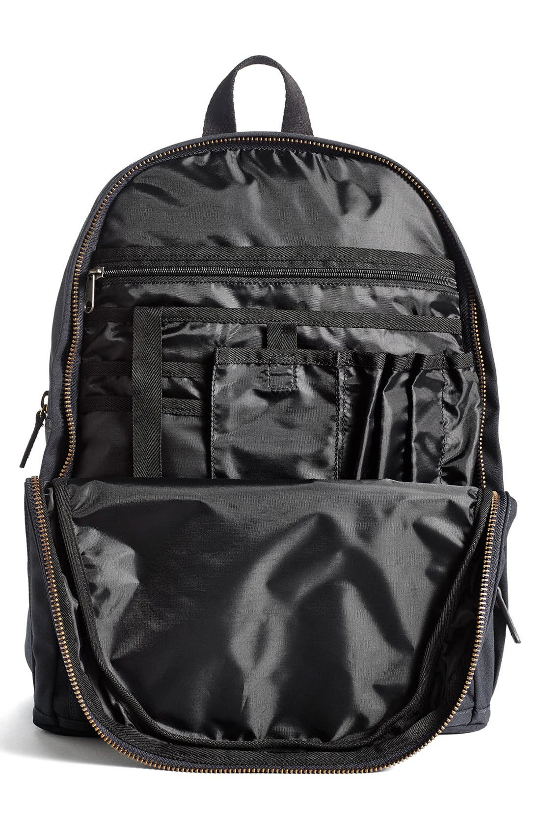 'Union' Water Resistant Backpack with Leather Trim,                             Alternate thumbnail 4, color,                             001