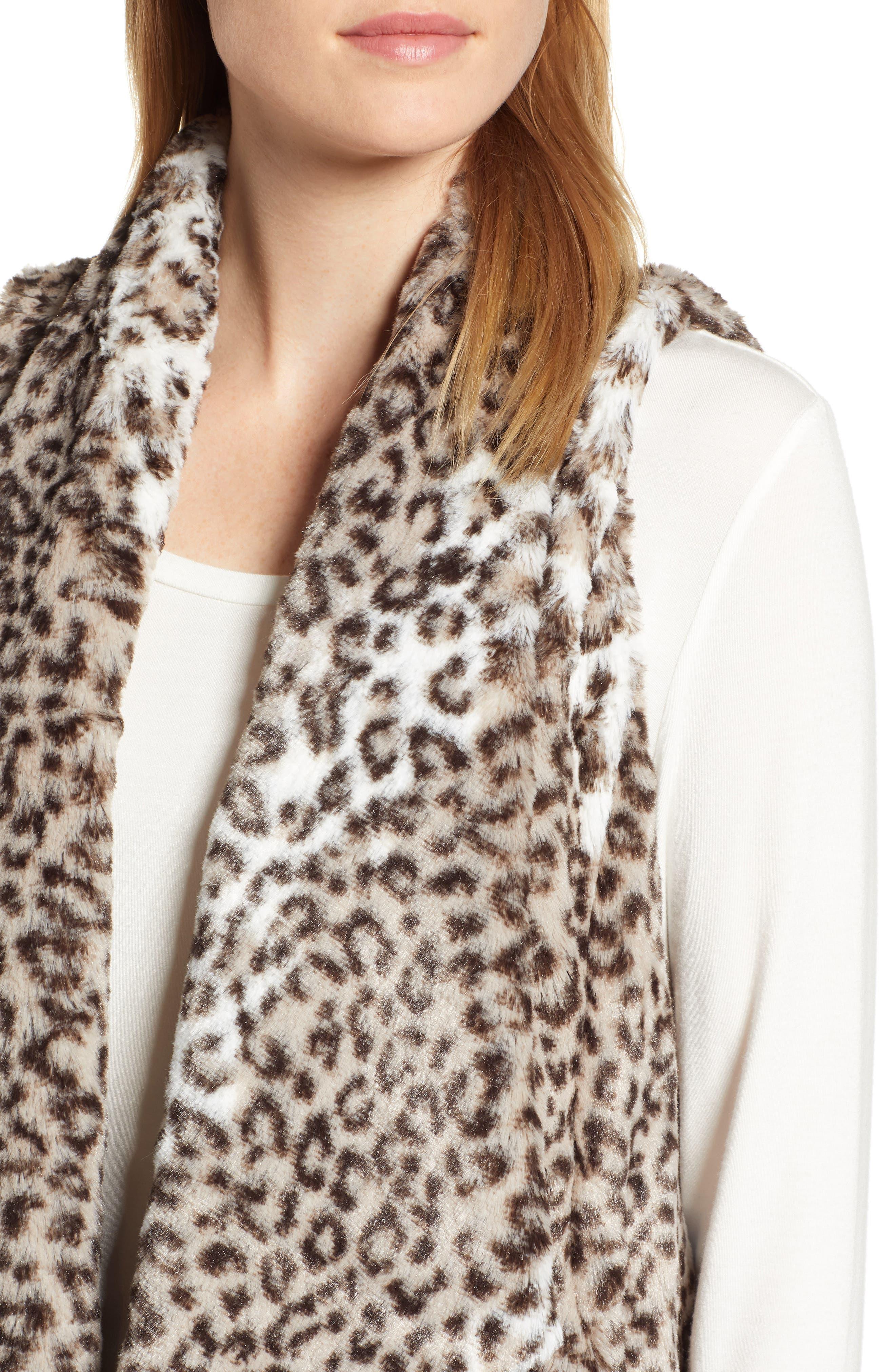 Draped Faux Leopard Fur Vest,                             Alternate thumbnail 4, color,                             LIGHT CASHMERE