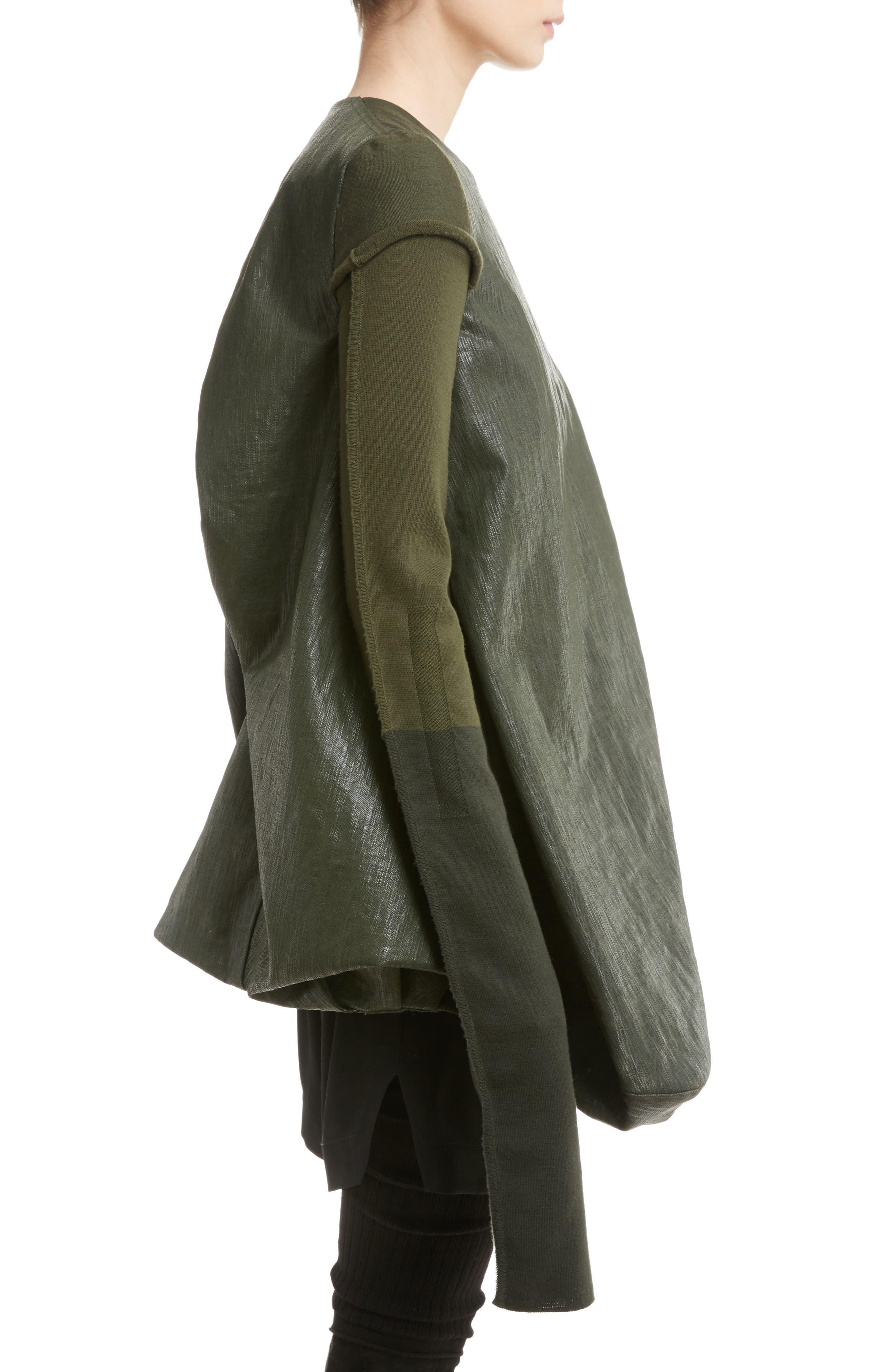 Knit Sleeve Waxed Cotton Jacket,                             Alternate thumbnail 3, color,