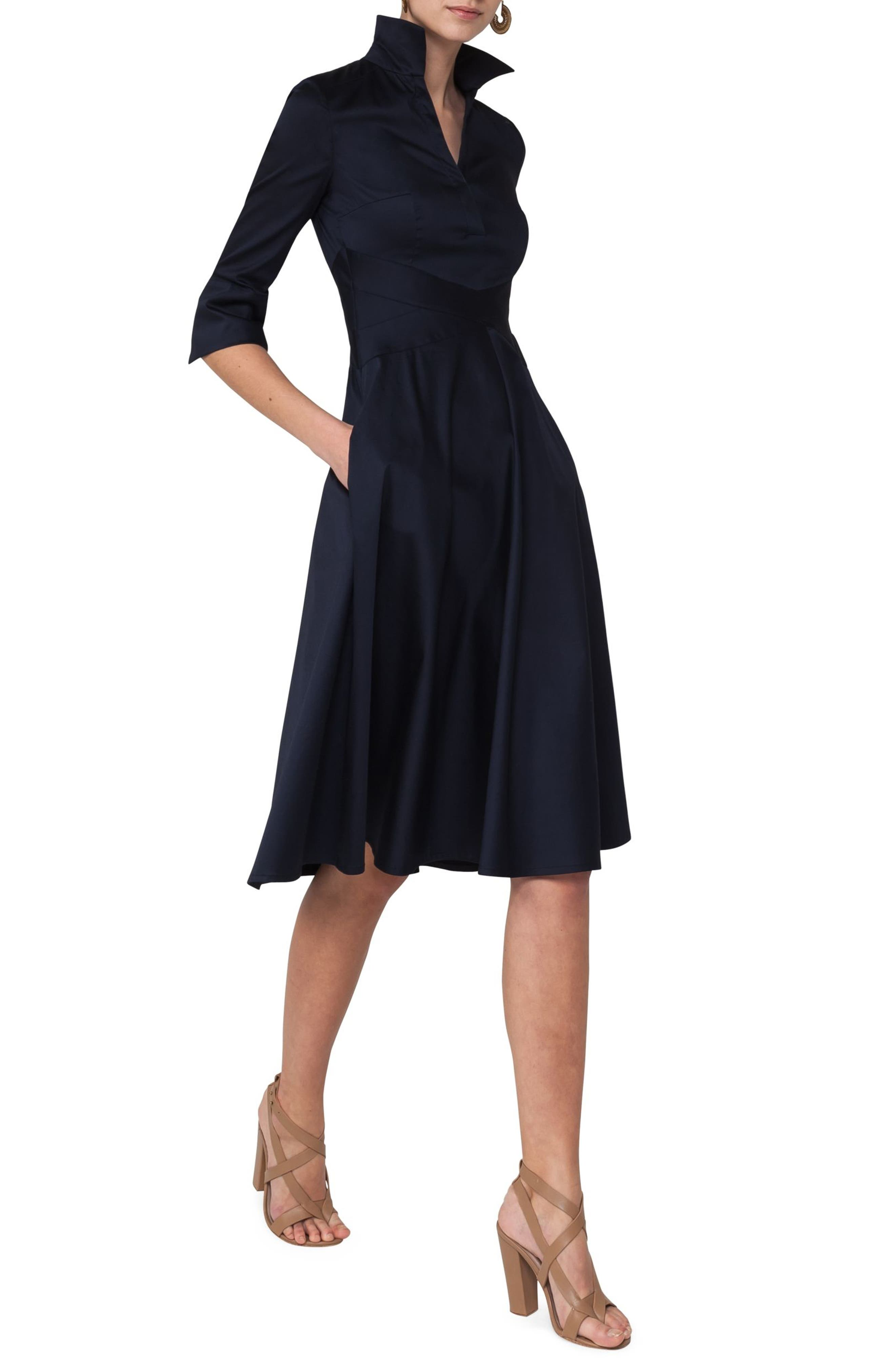 Sateen Fit & Flare Shirtdress,                             Alternate thumbnail 3, color,                             400
