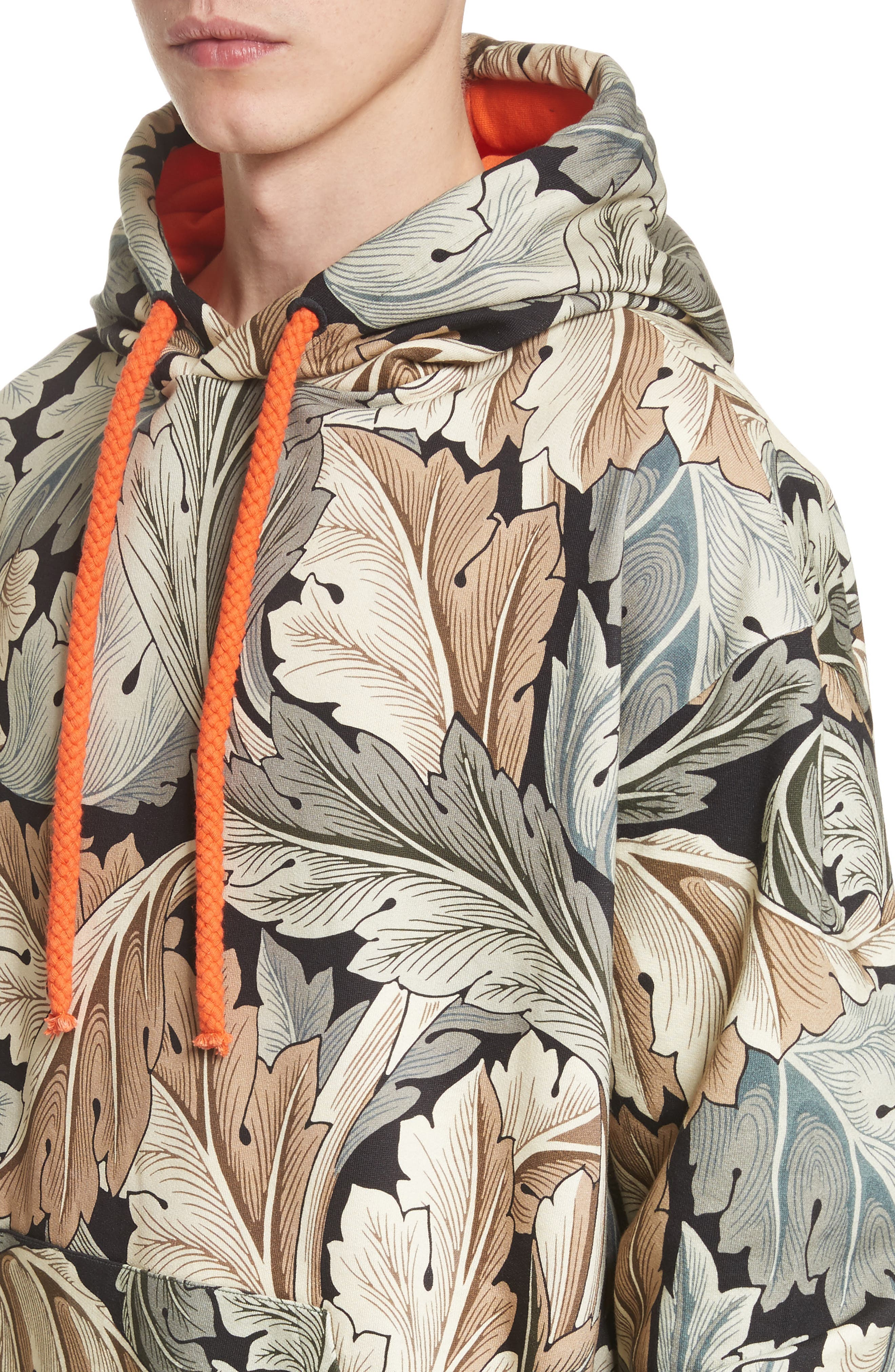 William Morris Print Oversize Hoodie,                             Alternate thumbnail 4, color,                             100