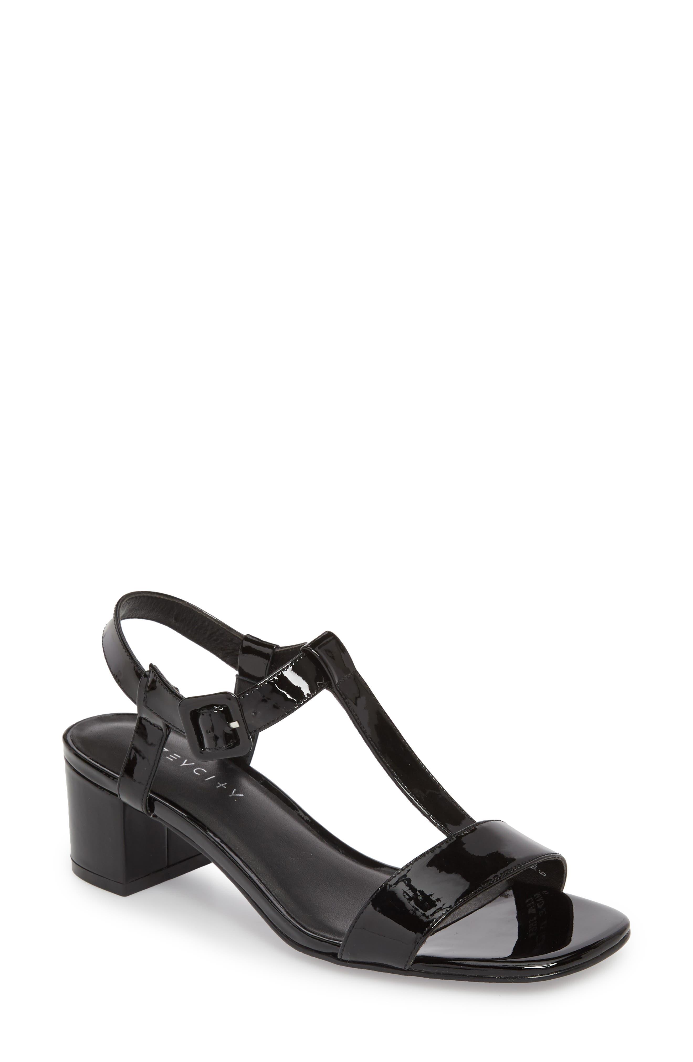 T-Strap Sandal,                         Main,                         color, 001