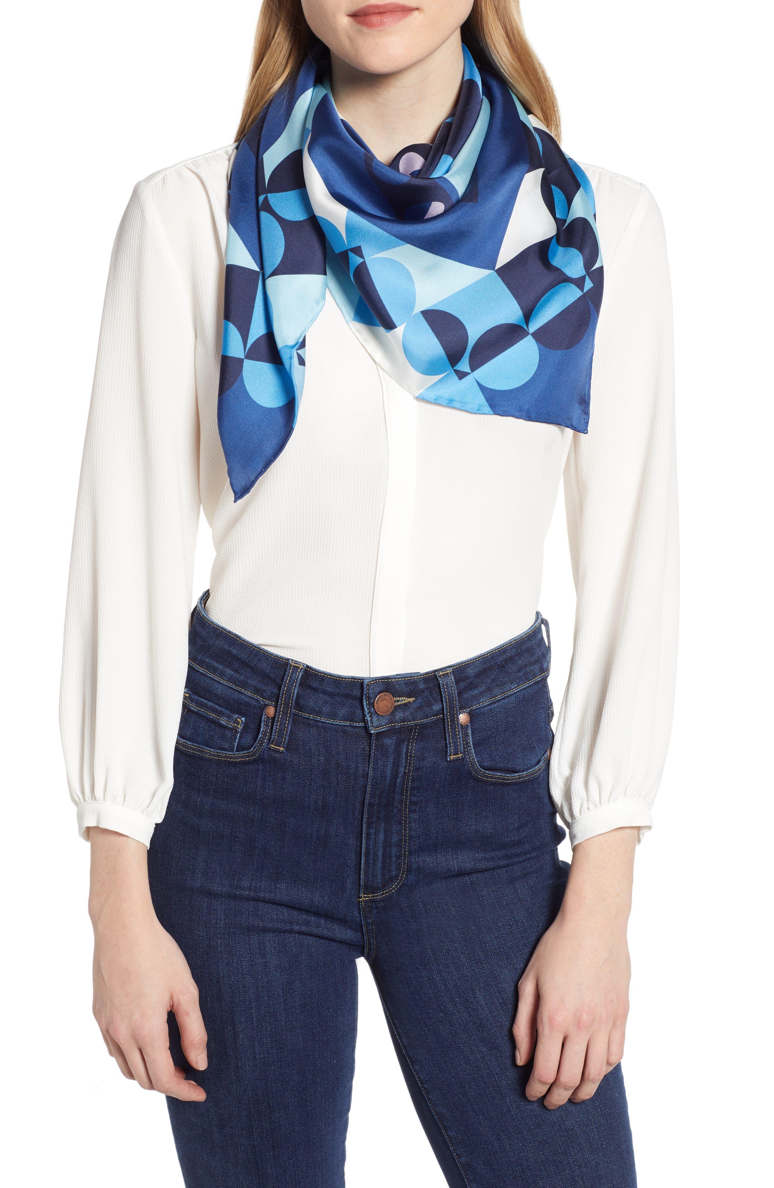 KATE SPADE NEW YORK geospade square silk scarf, Main, color, AMULET BLUE