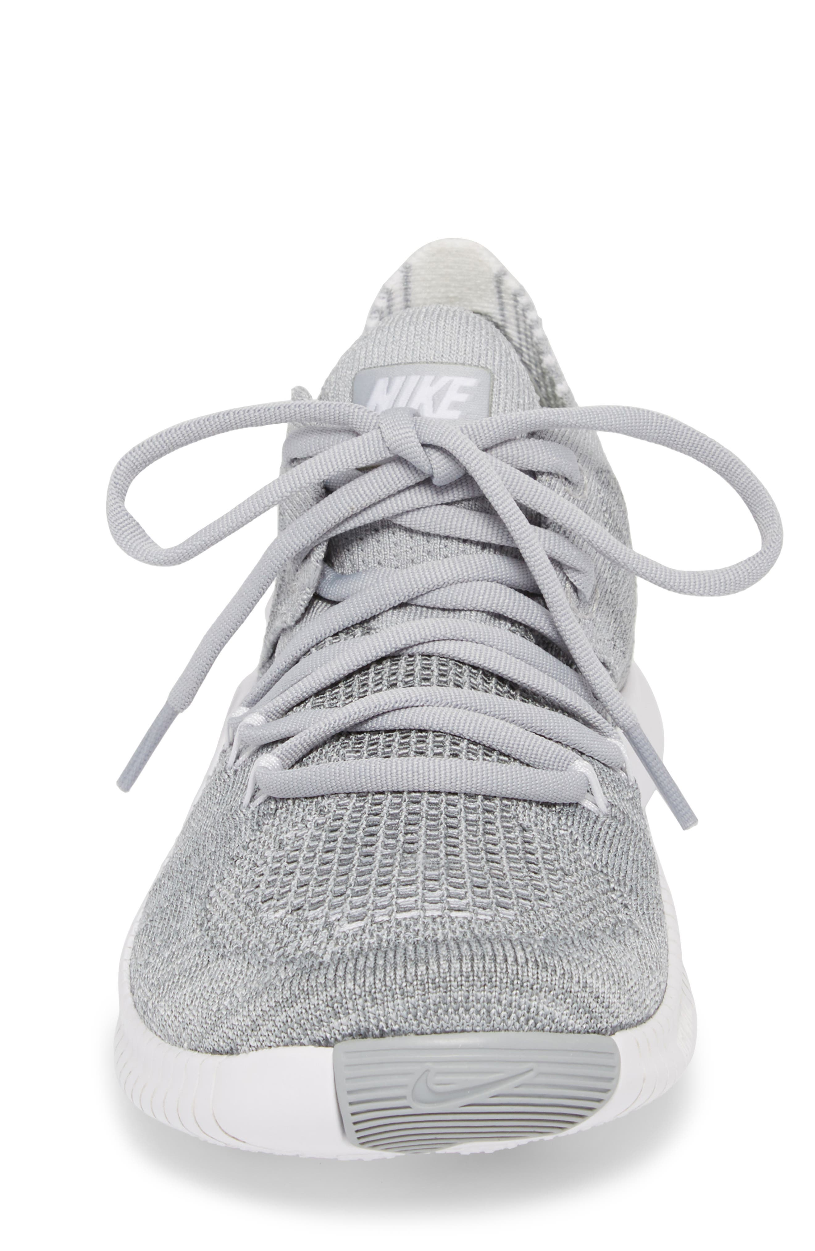 Free TR Flyknit 3 Training Shoe,                             Alternate thumbnail 4, color,                             WOLF GREY/ WHITE