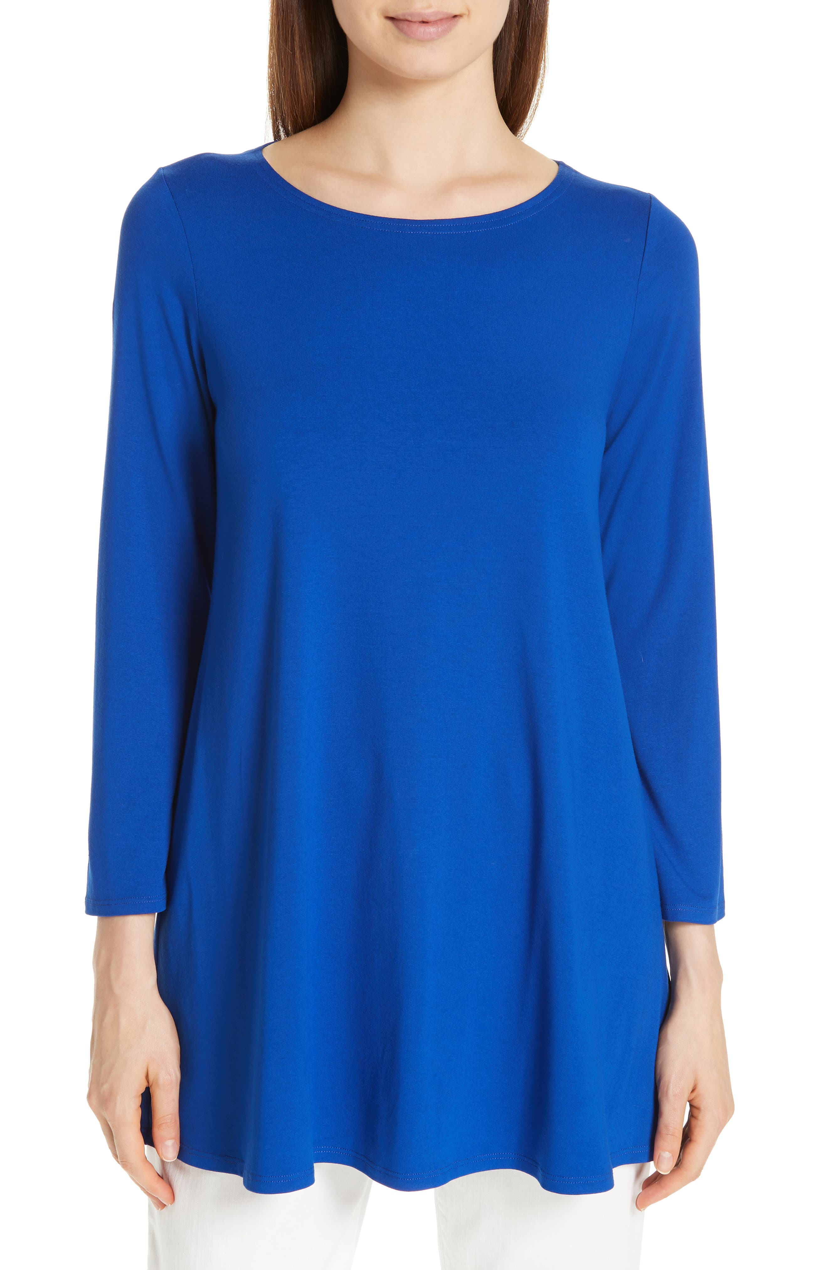 Wide-Sleeve Ballet-Neck Viscose Jersey Tunic, Plus Size in Royal