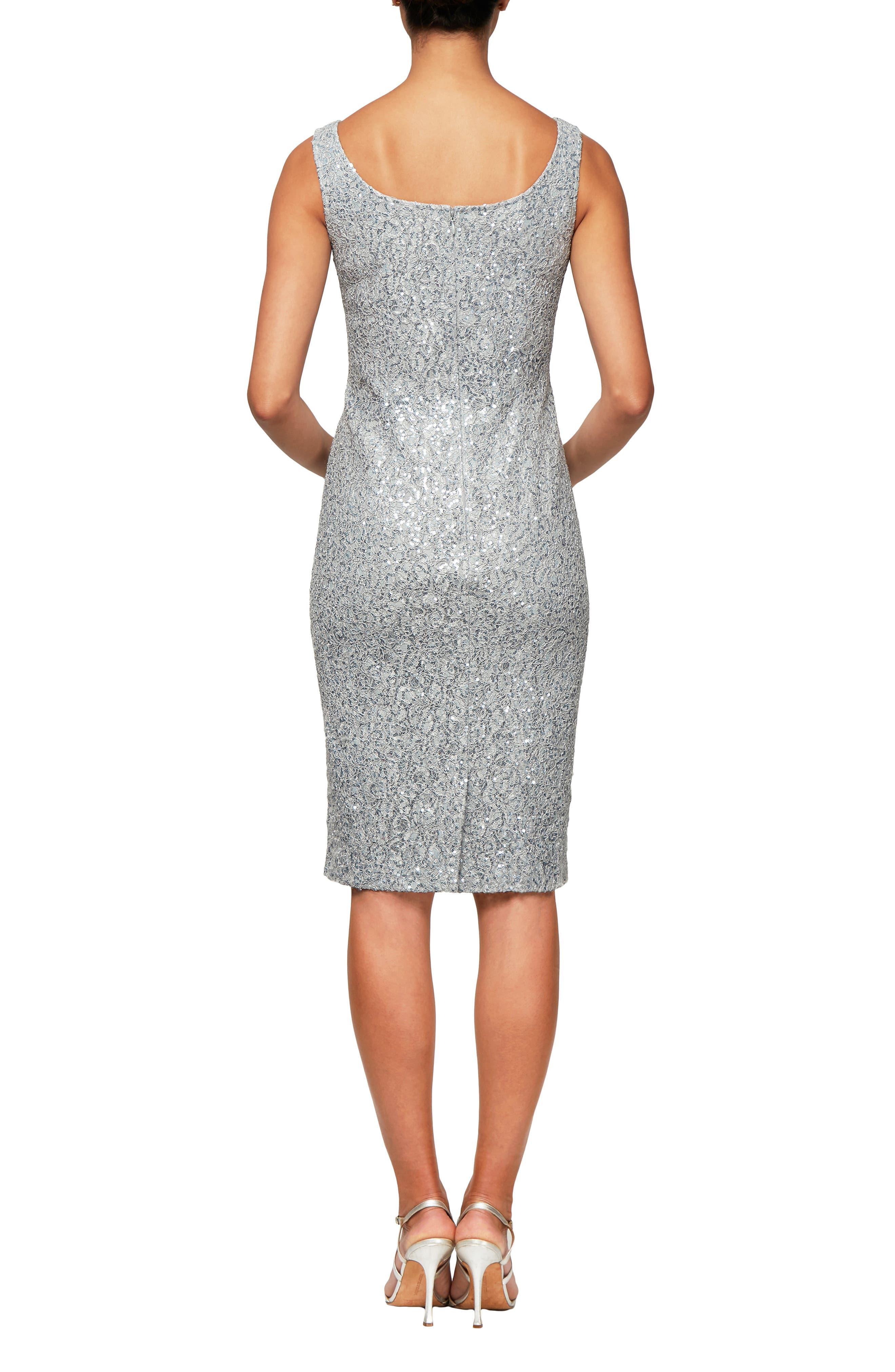 ALEX EVENINGS,                             Sequin Sheath Dress with Jacket,                             Alternate thumbnail 5, color,                             LIGHT BLUE