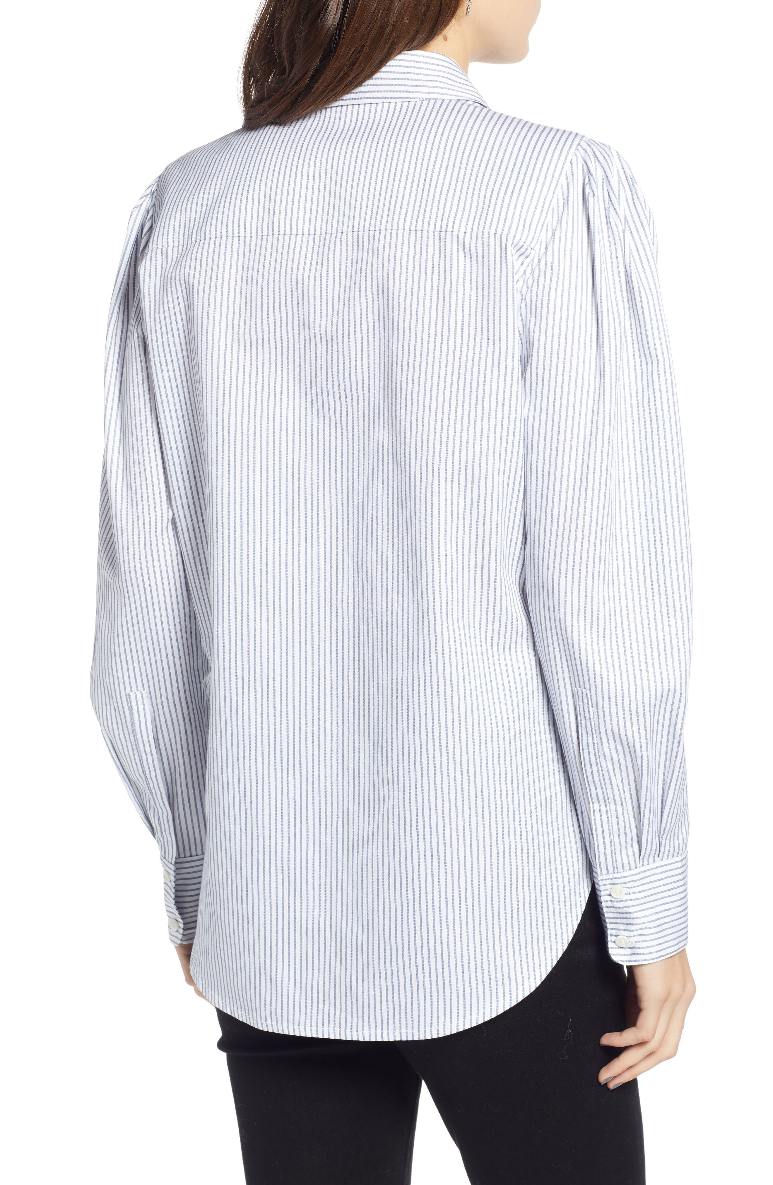 Pleated Sleeve Stripe Shirt,                             Alternate thumbnail 2, color,                             WHITE STOCKHOLM STRIPE