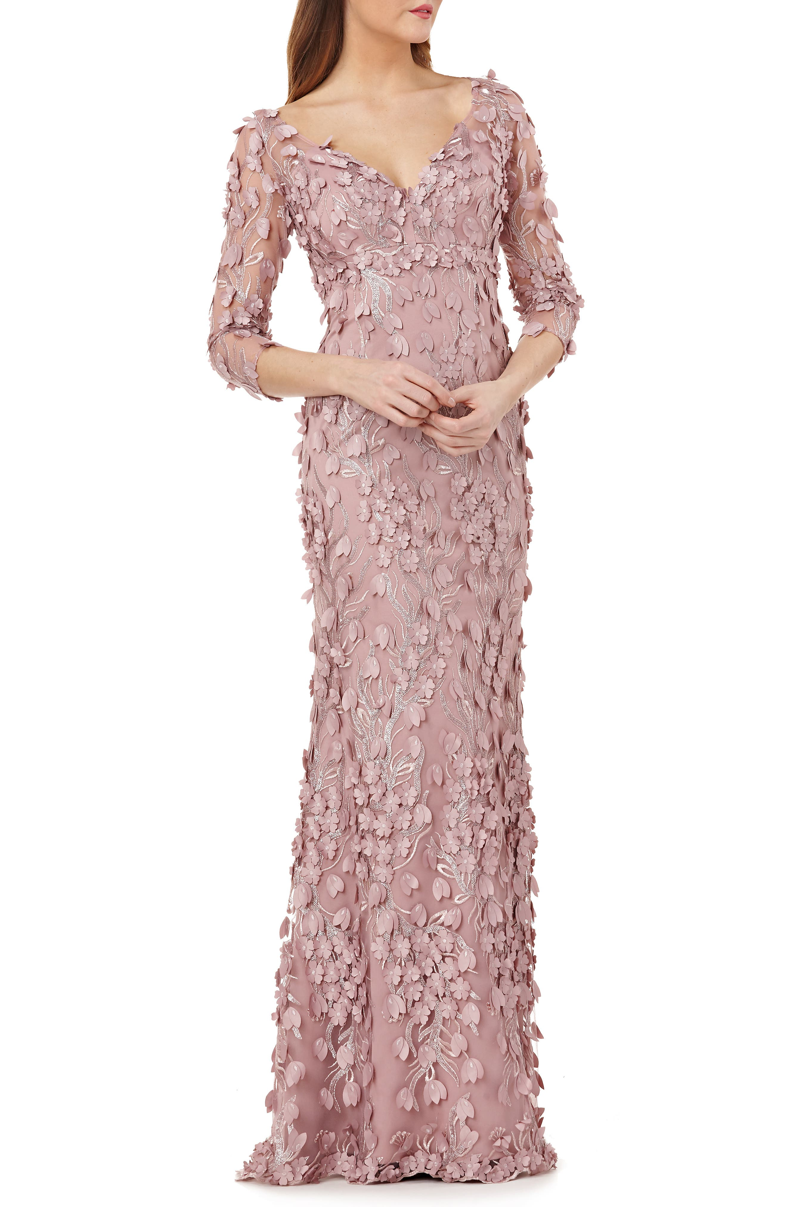 3D Novelty Gown,                         Main,                         color, DUSTY ROSE