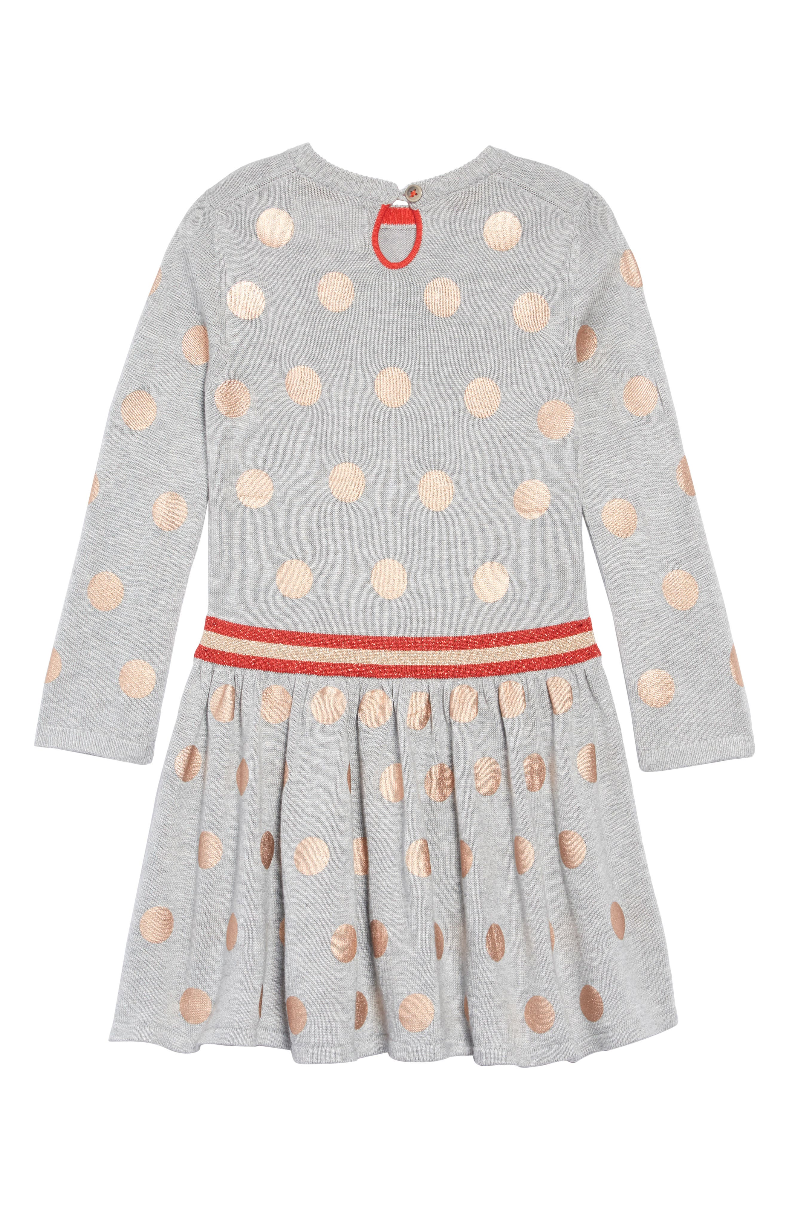 Mini Boden Foil Spot Knit Dress,                             Alternate thumbnail 2, color,                             GRY GREY MARL FOIL SPOTS