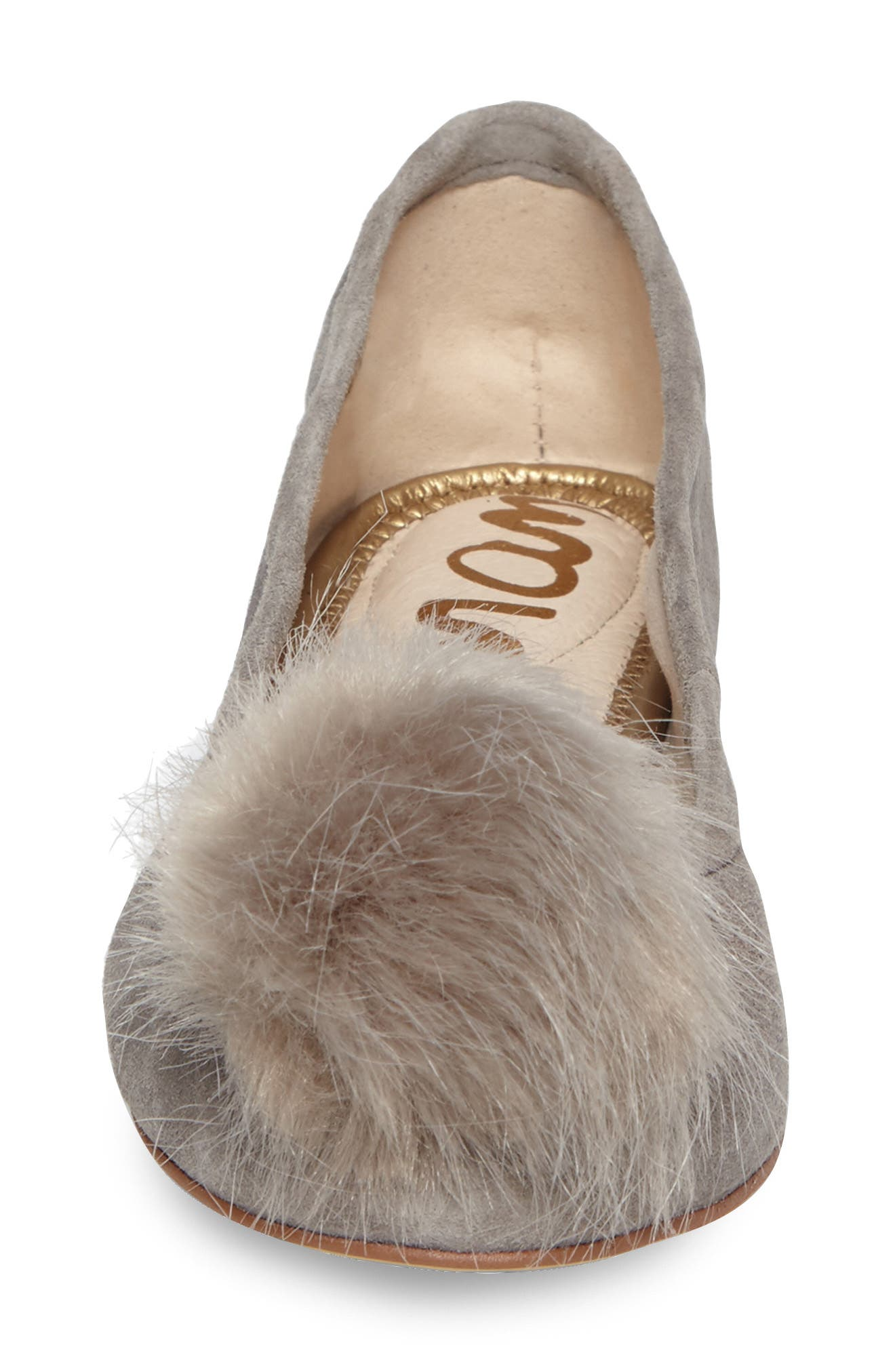 Farina Flat with Faux Fur Pompom,                             Alternate thumbnail 4, color,                             020