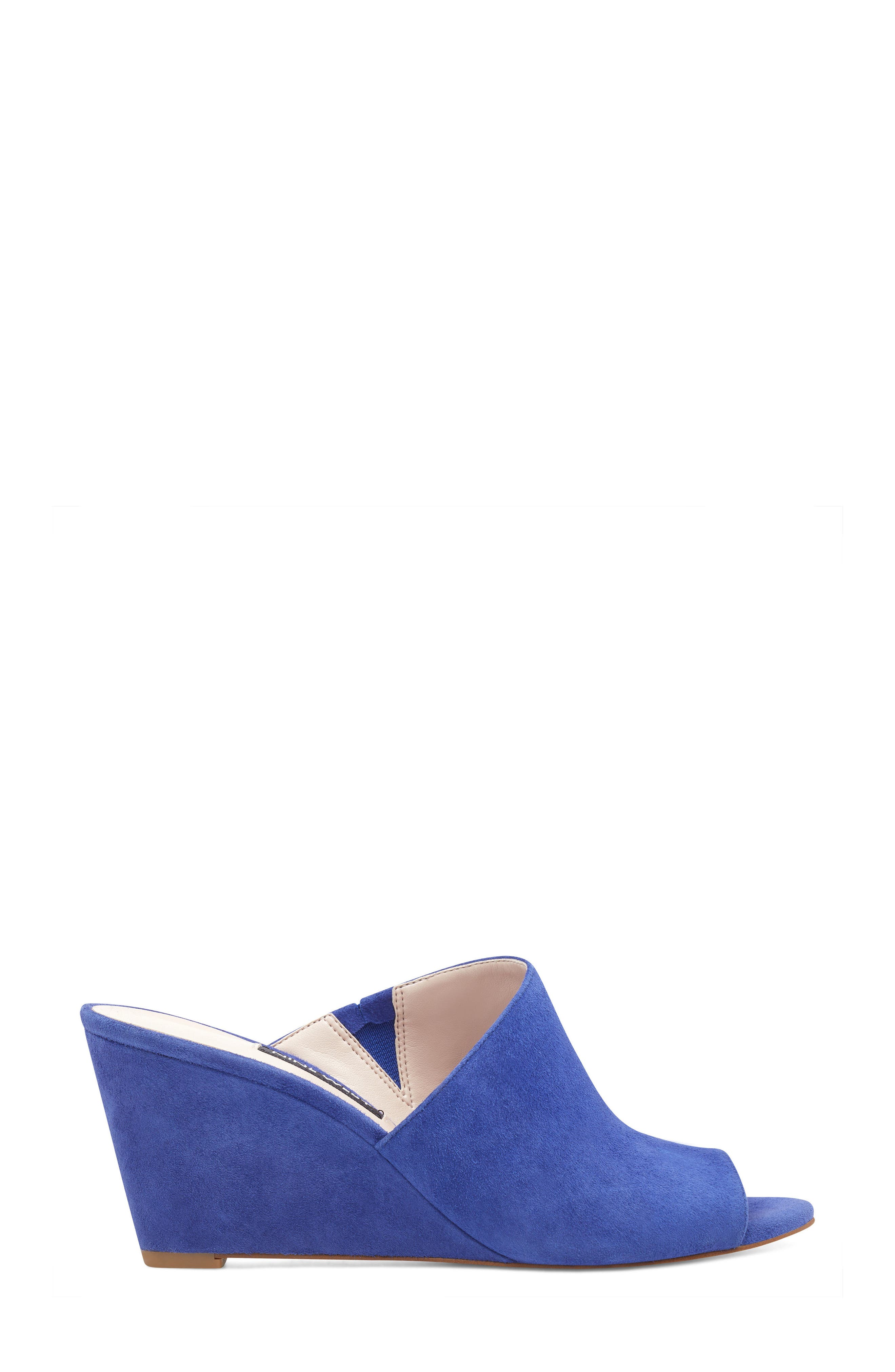 Janissah Wedge,                             Alternate thumbnail 3, color,                             DARK BLUE SUEDE