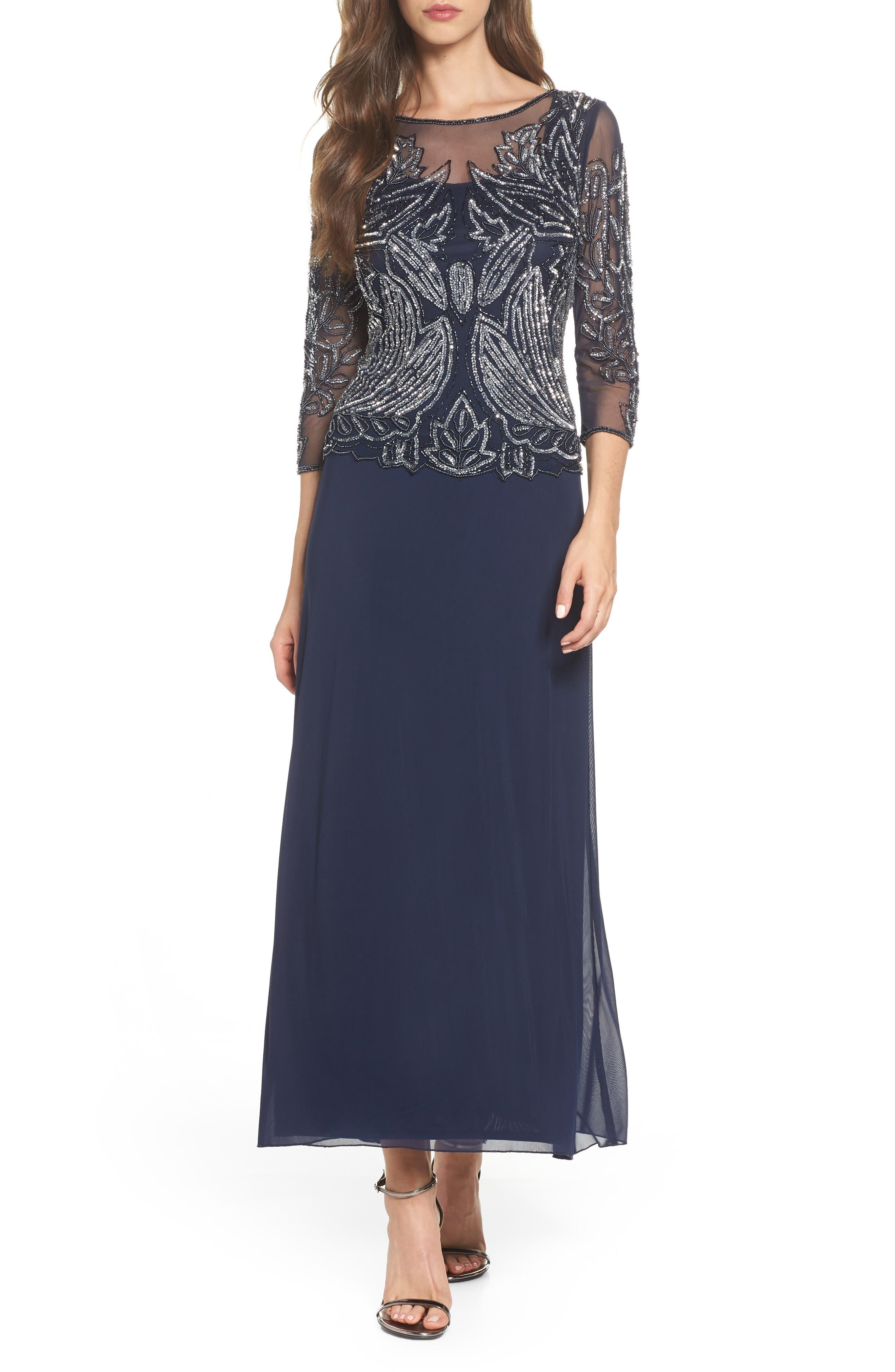 Pisarro Nights Embellished Mesh Gown, Blue