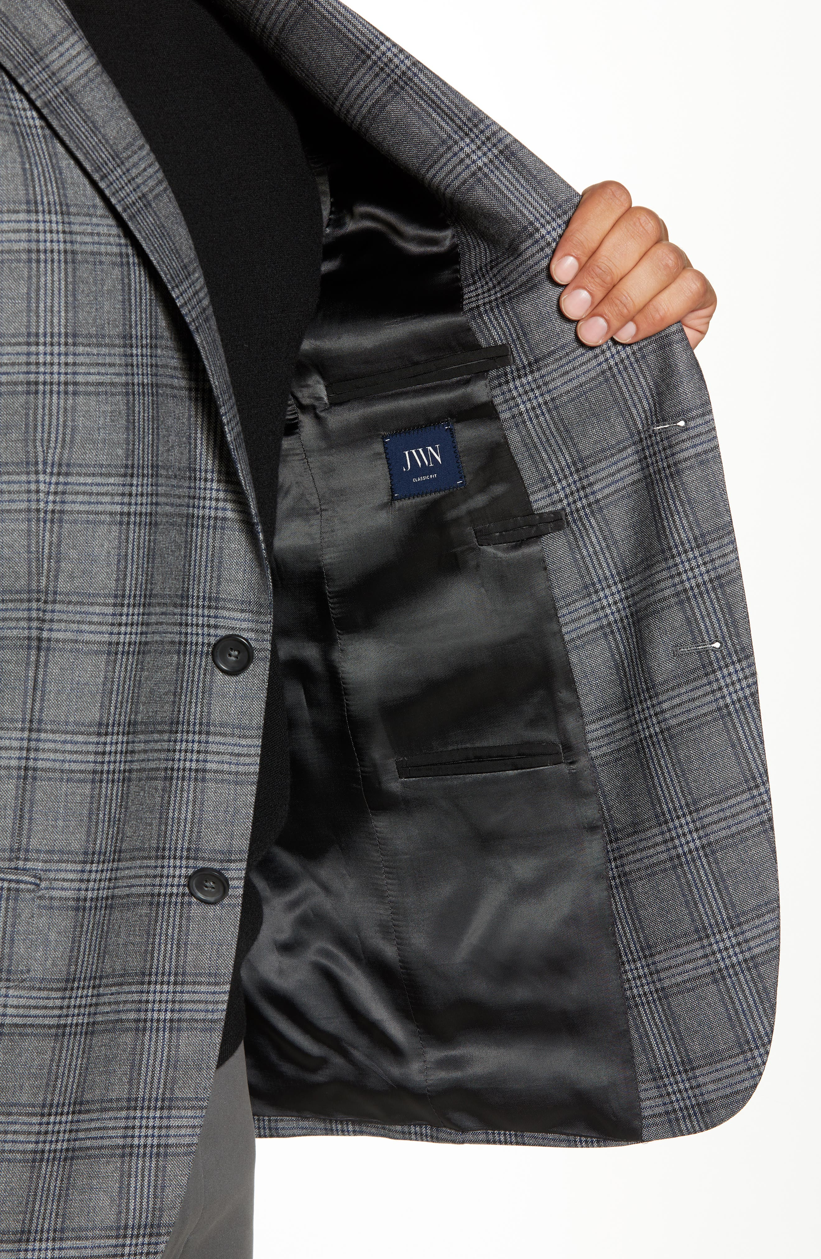 Traditional Fit Plaid Wool Sport Coat,                             Alternate thumbnail 4, color,                             GREY
