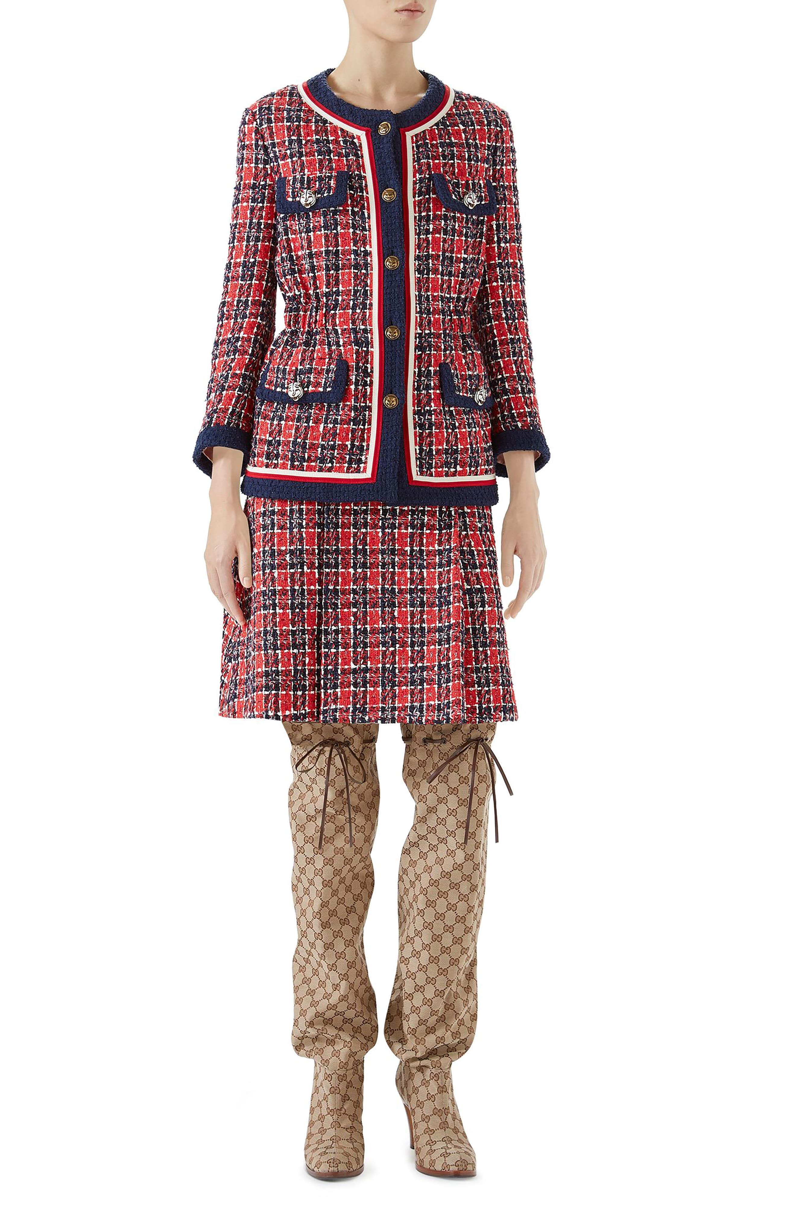 Cinch Waist Tweed Jacket,                             Alternate thumbnail 4, color,                             ROYAL BLUE/ RED