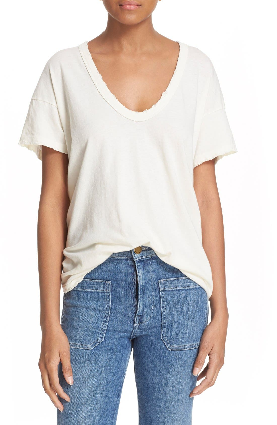 U-Neck Cotton Tee,                         Main,                         color, WASHED WHITE