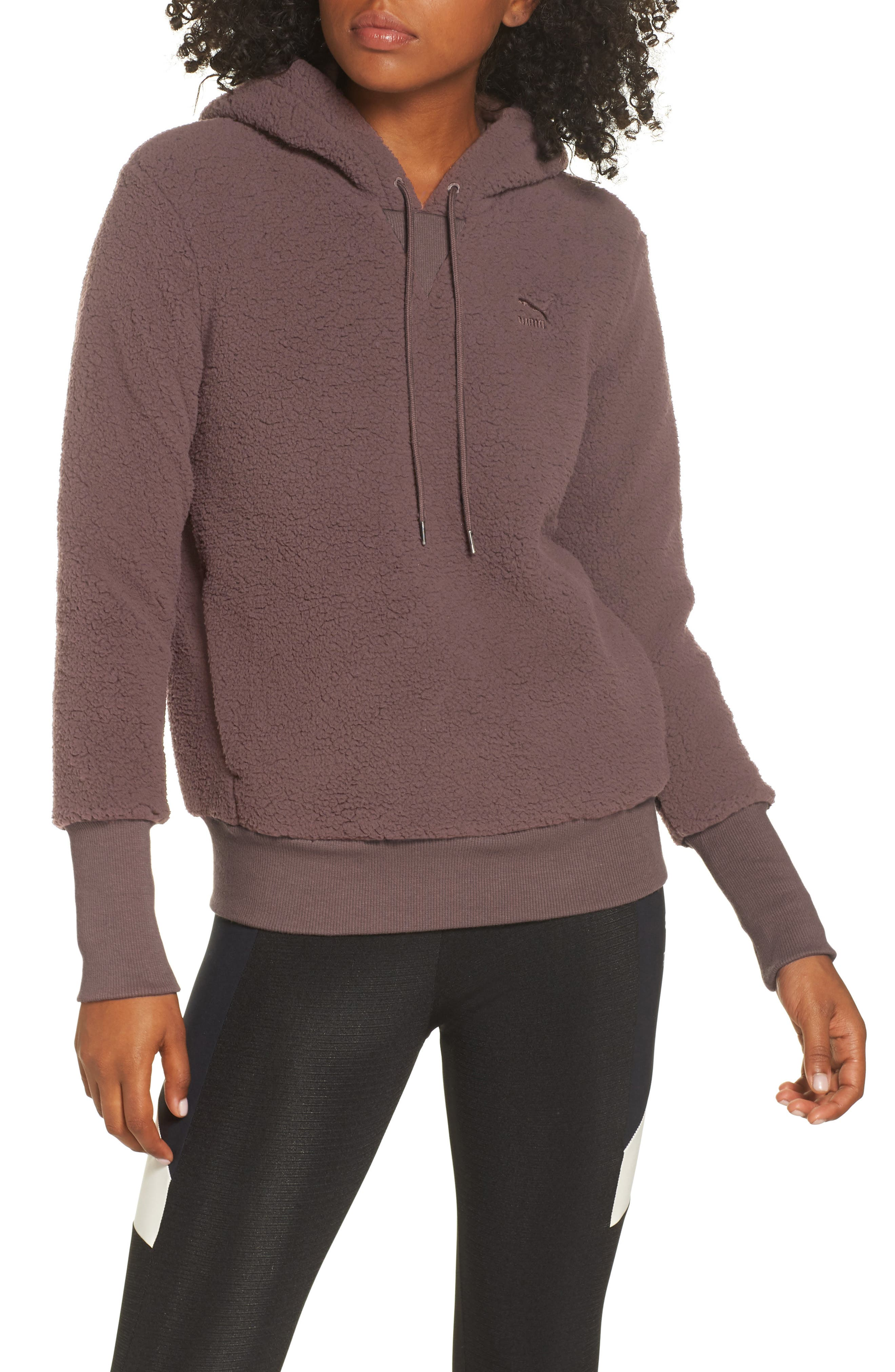 Downtown Fleece Hoodie, Main, color, PEPPERCORN