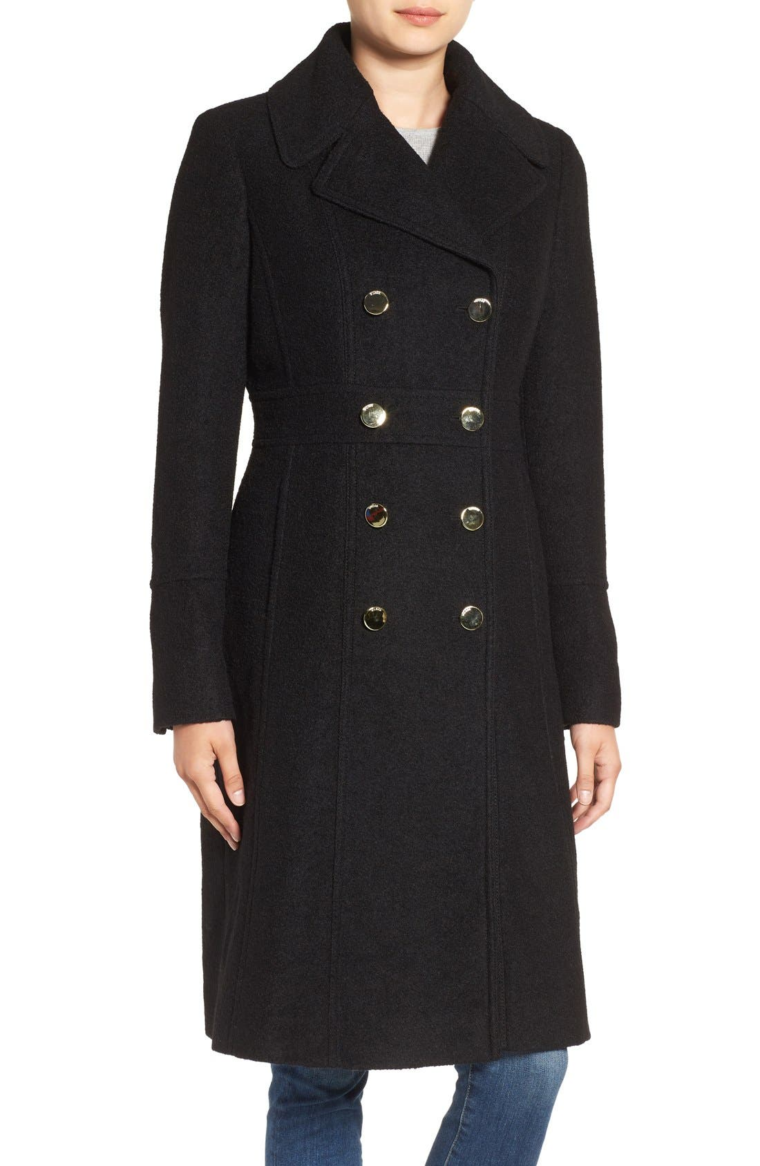 Fit & Flare Military Coat, Main, color, 001