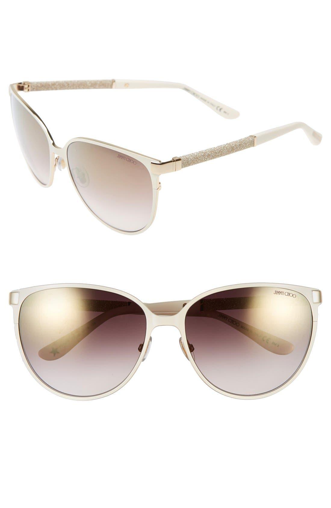 'Posies' 60mm Cat Eye Sunglasses,                             Main thumbnail 1, color,                             IVORY