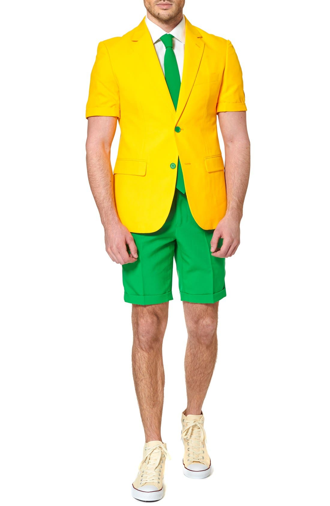 'Summer Green & Gold' Trim Fit Short Suit with Tie,                             Alternate thumbnail 4, color,