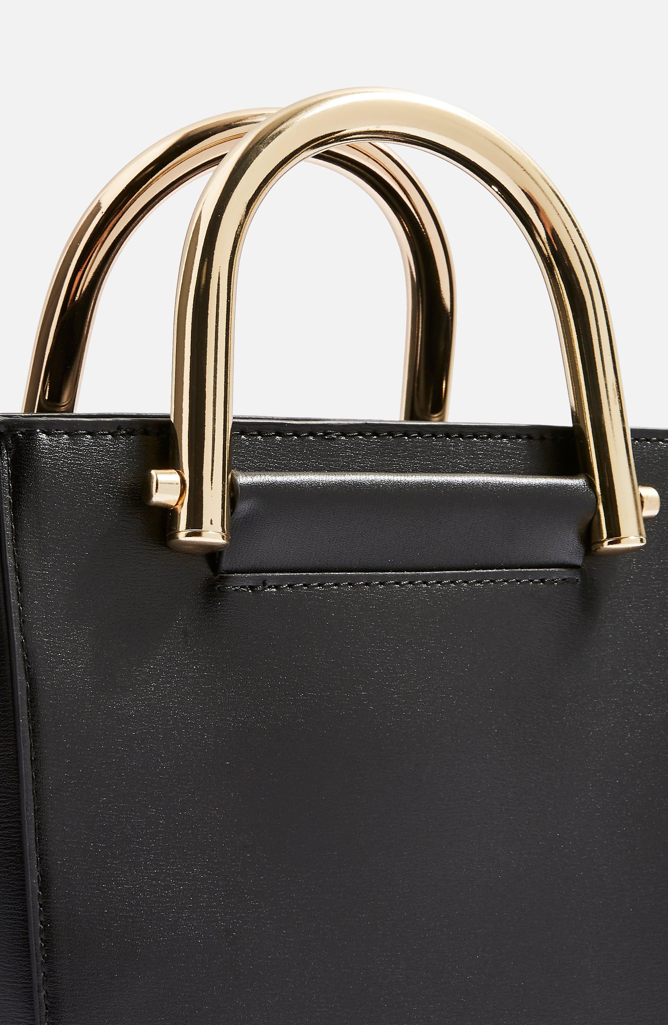 TOPSHOP,                             Lacey Metal Top Handle Shoulder Bag,                             Alternate thumbnail 4, color,                             001