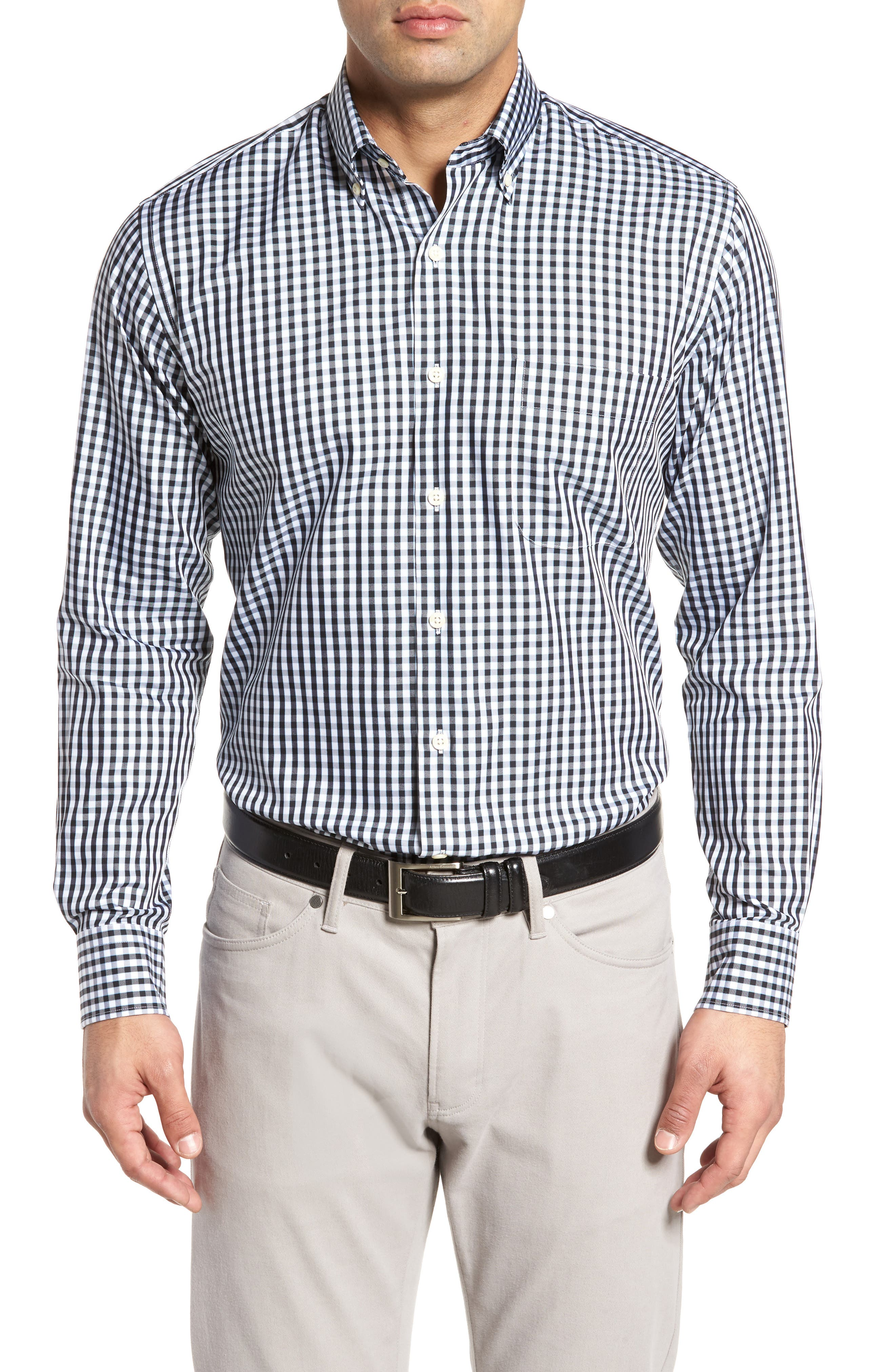 Black Sand Classic Fit Gingham Check Sport Shirt,                             Main thumbnail 1, color,                             BLACK
