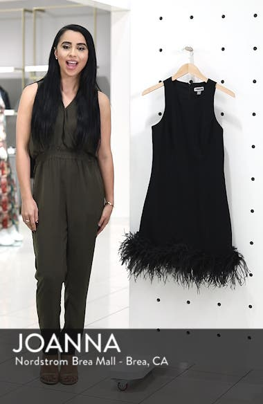 Feather Hem Sheath Dress, sales video thumbnail