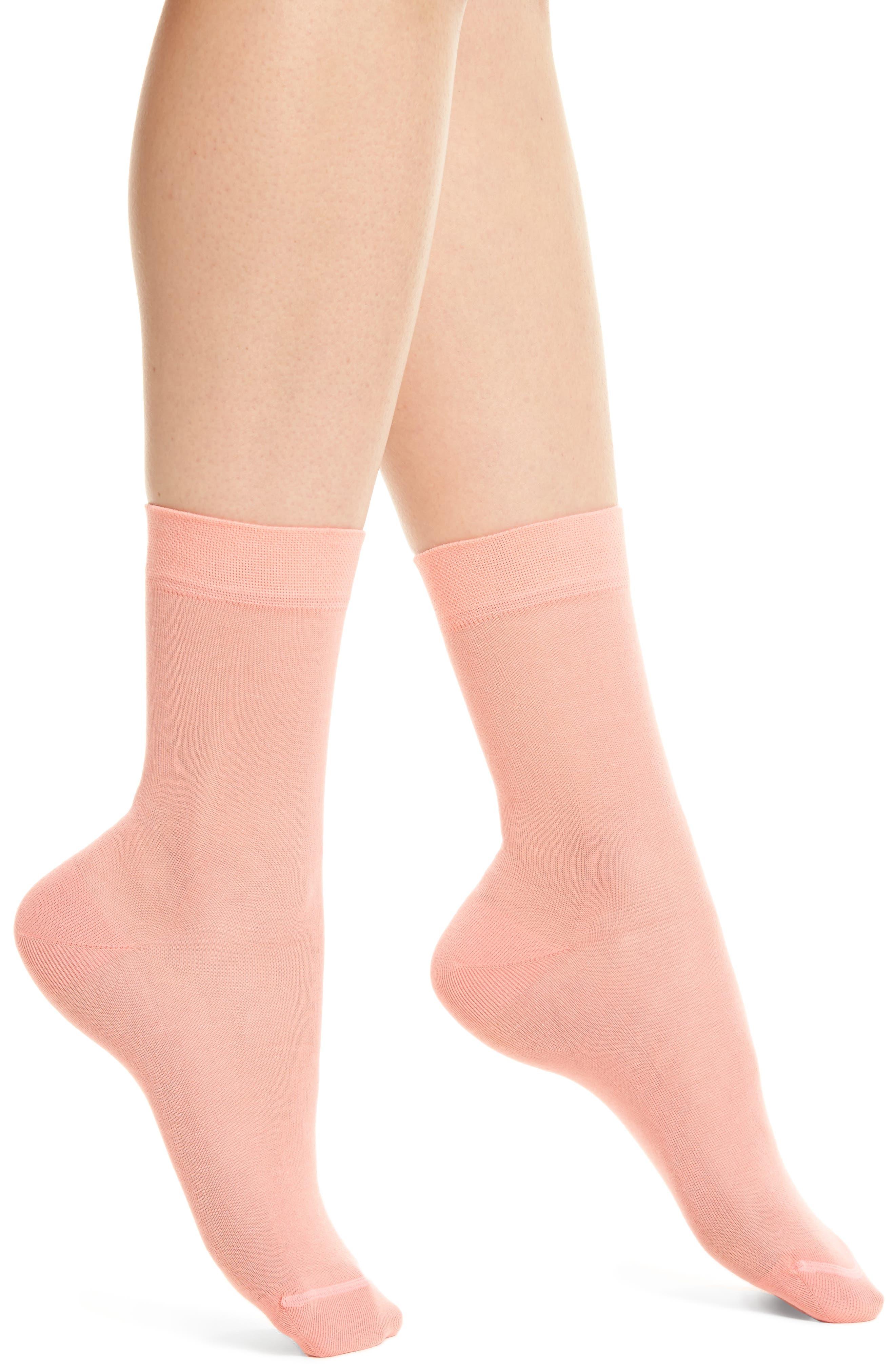 Sheer Crew Socks,                         Main,                         color, CORAL SHELL