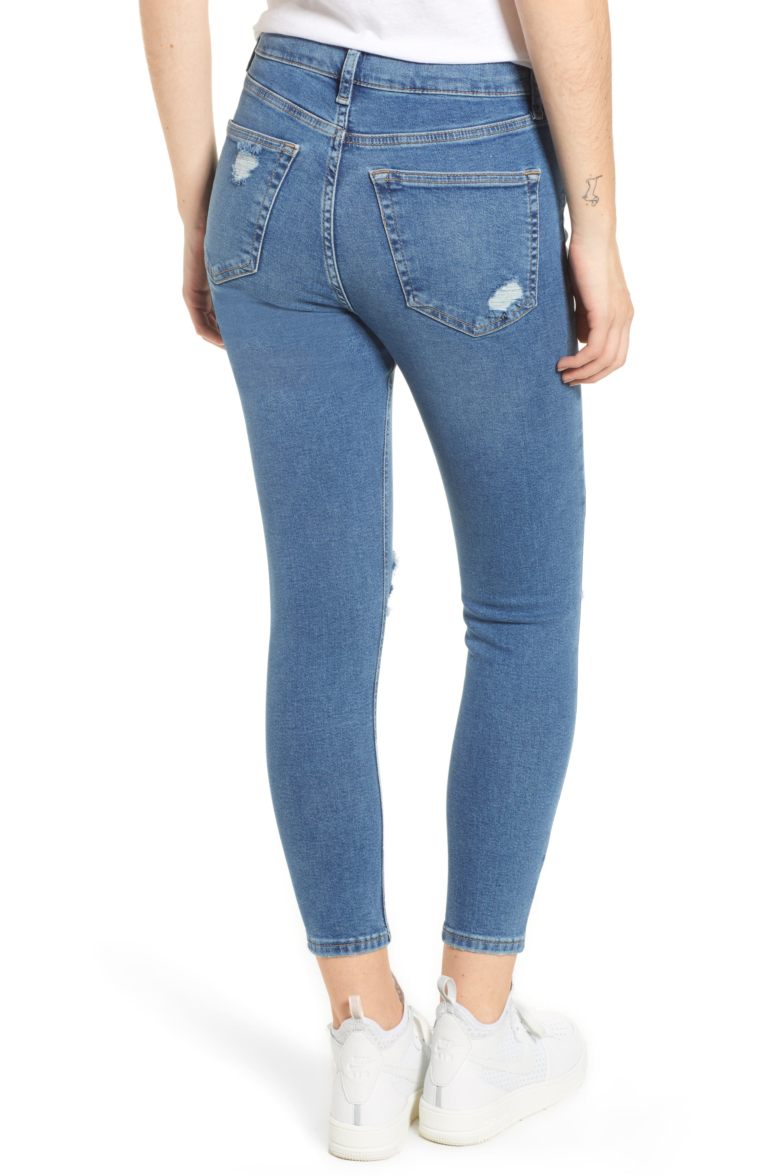 TOPSHOP,                             Jamie Ripped Jeans,                             Alternate thumbnail 2, color,                             MID DENIM