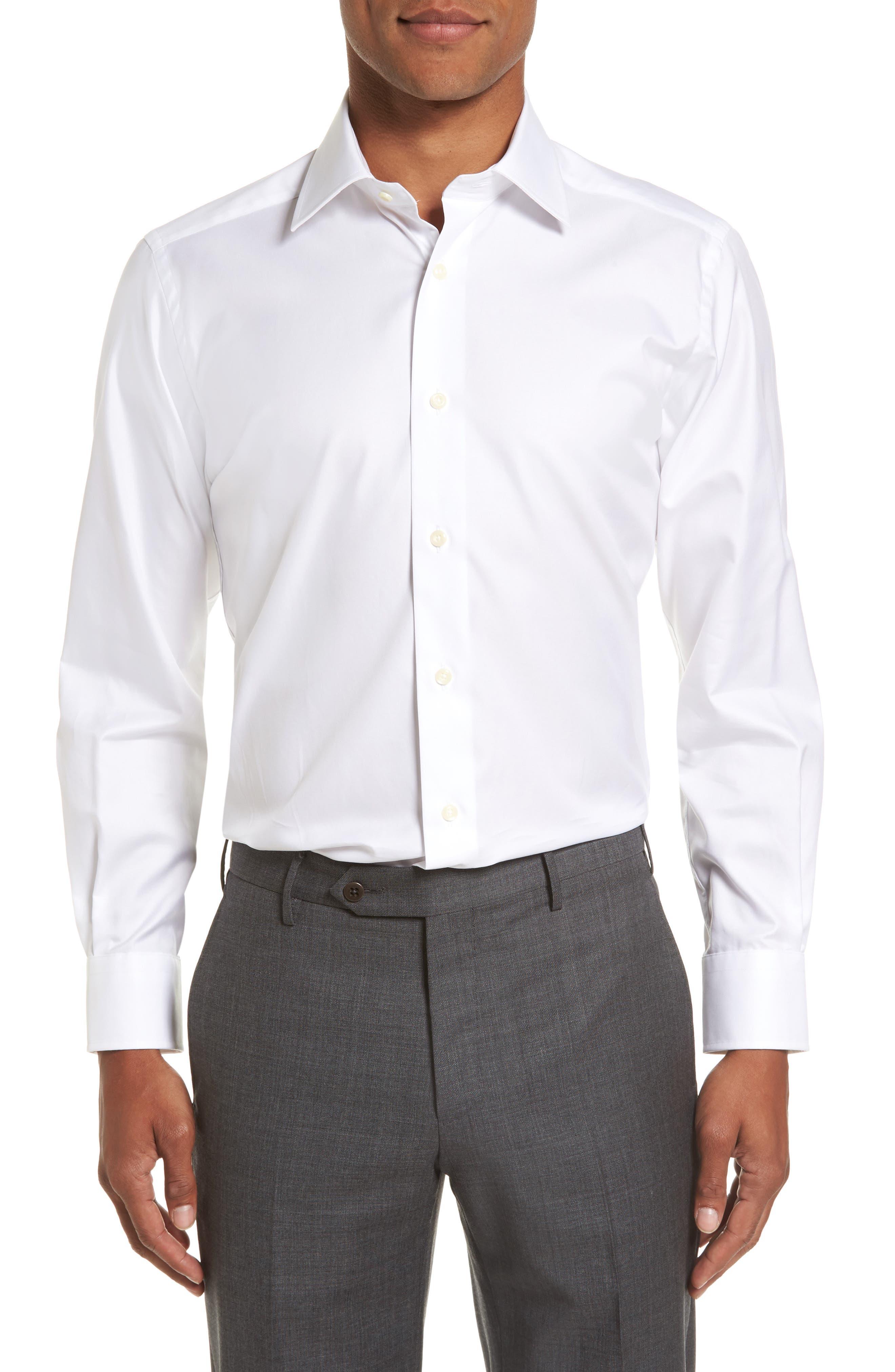 Trim Fit Solid Dress Shirt,                         Main,                         color, WHITE