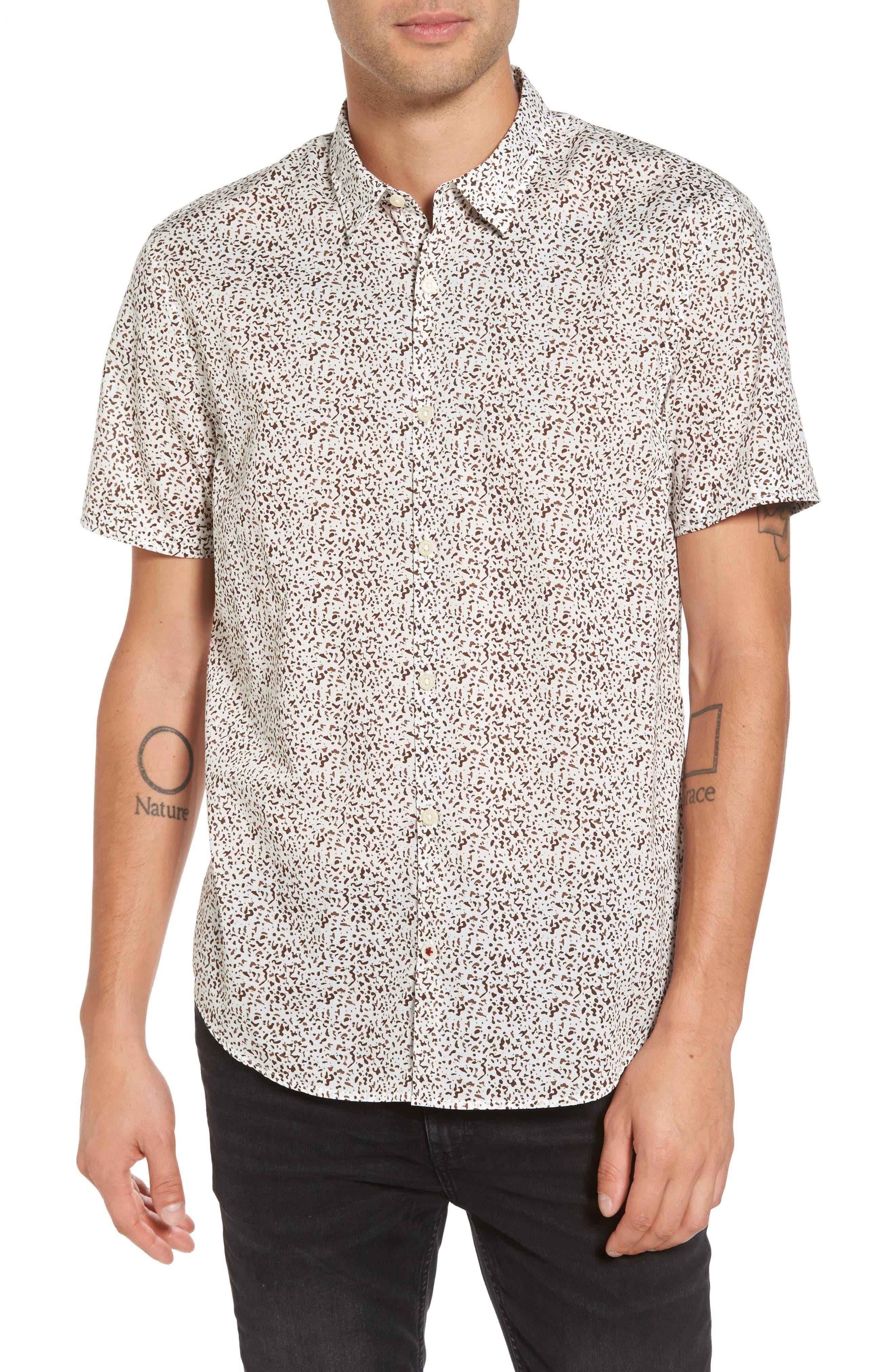 Slim Fit Animal Print Short Sleeve Sport Shirt,                         Main,                         color, LIGHT KHAKI