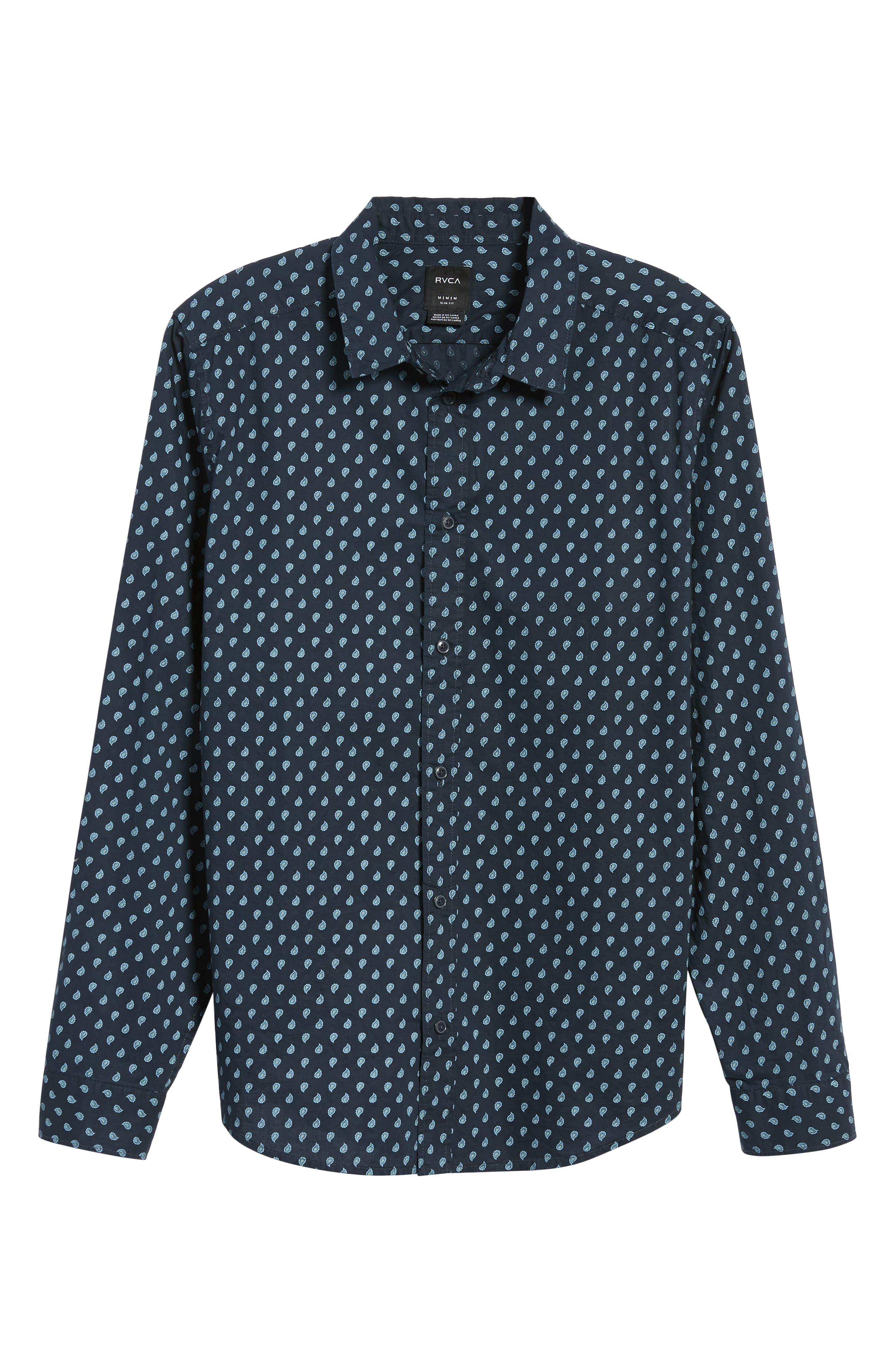 Mini Paisley Woven Long Sleeve Shirt,                             Alternate thumbnail 5, color,                             402