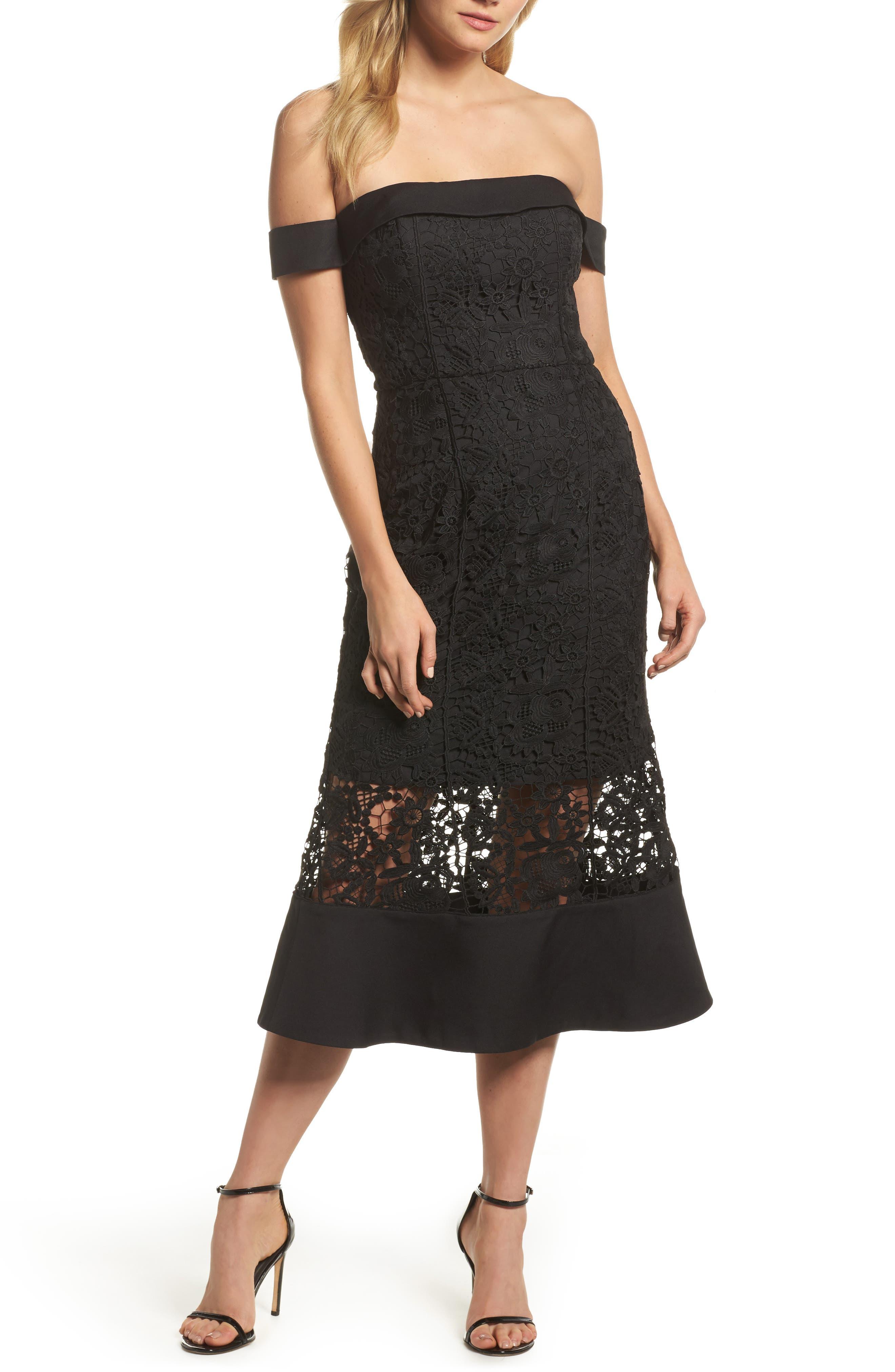 Talia Lace Off the Shoulder Midi Dress,                             Main thumbnail 1, color,                             001