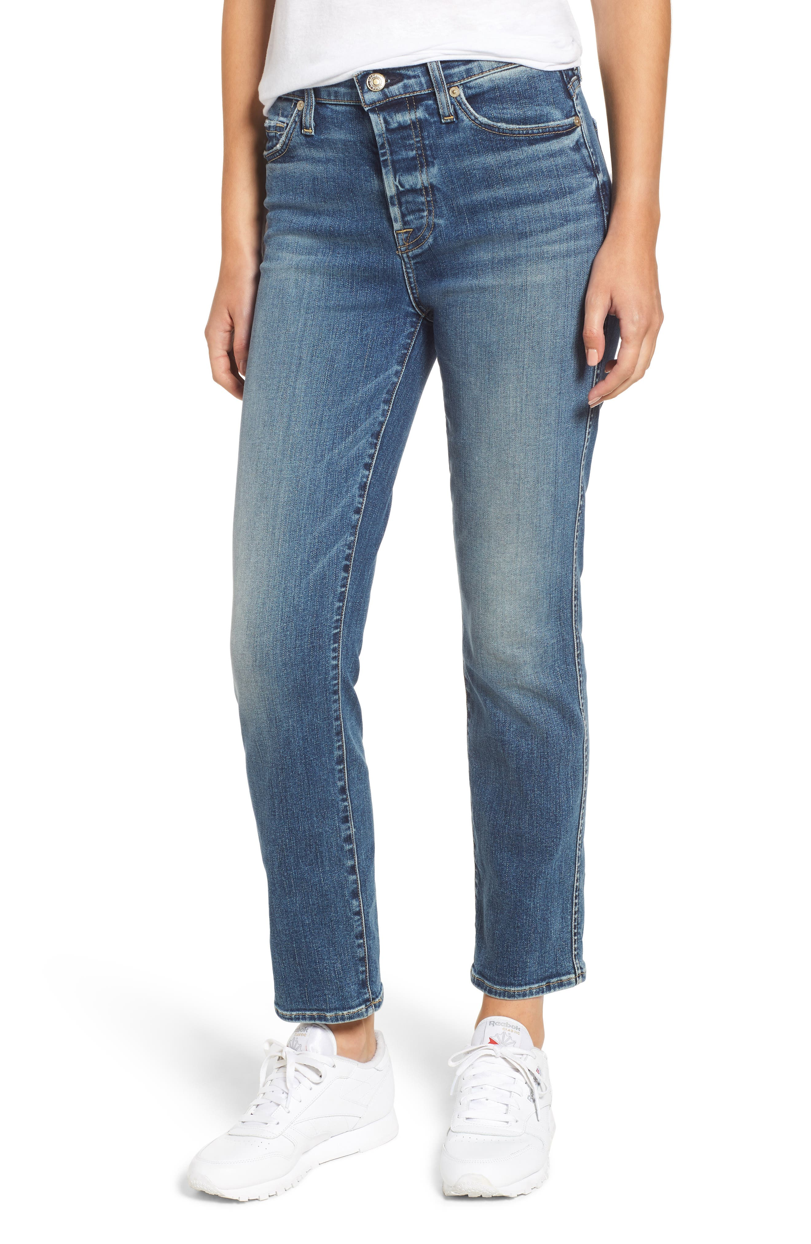 7 FOR ALL MANKIND<SUP>®</SUP>,                             Edie High Waist Ankle Straight Leg Jeans,                             Main thumbnail 1, color,                             AUTHENTIC MEDIUM