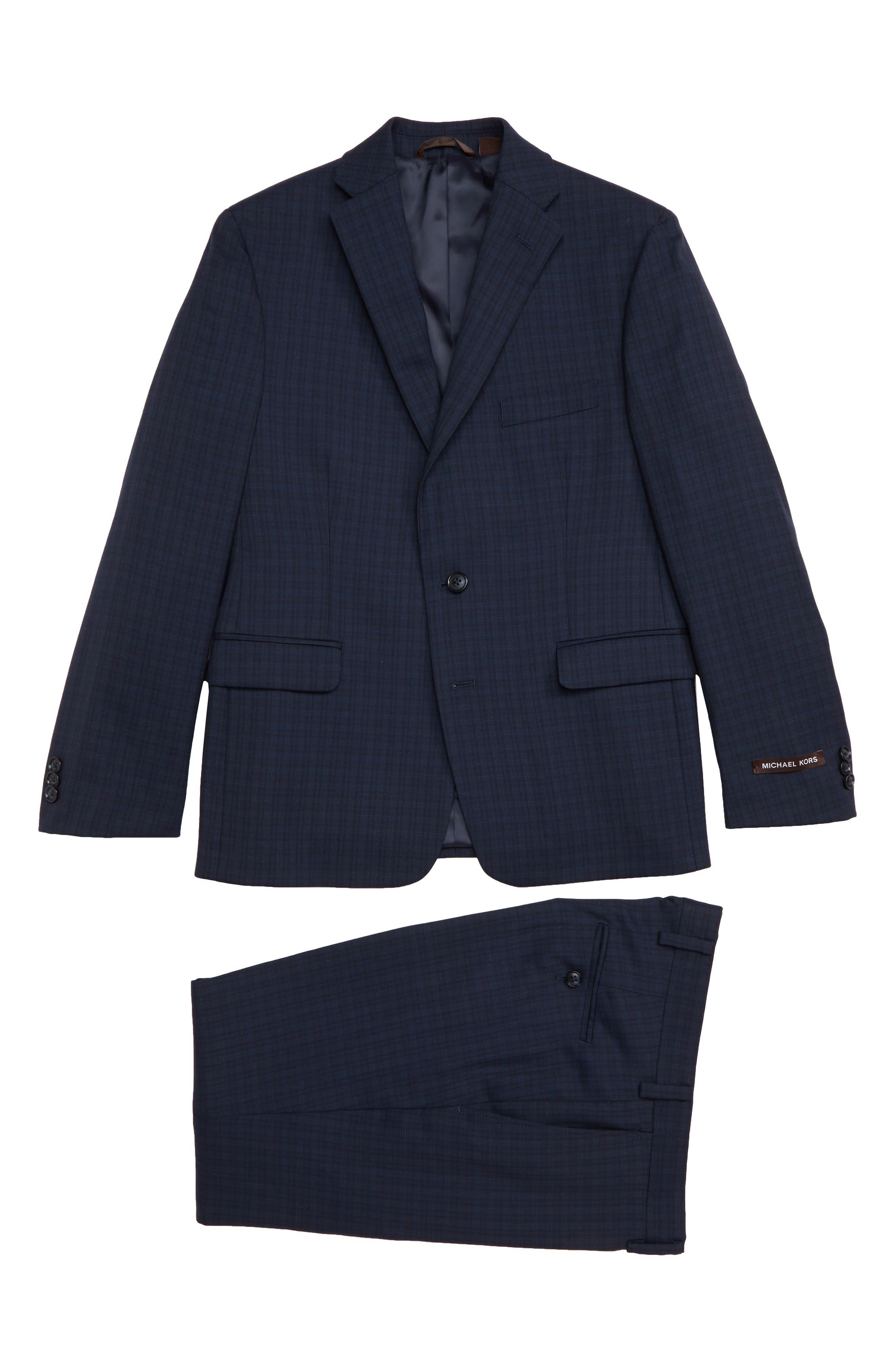 Boys Michael Kors Plaid Wool Suit (Husky)
