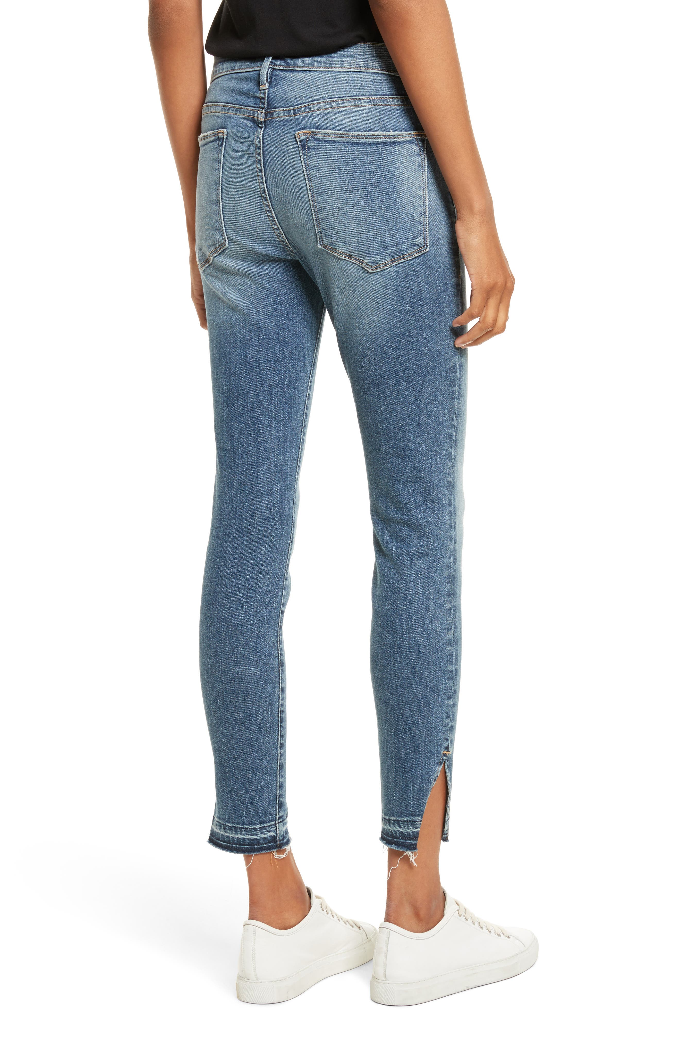 Le High Raw Hem Skinny Jeans,                             Alternate thumbnail 2, color,