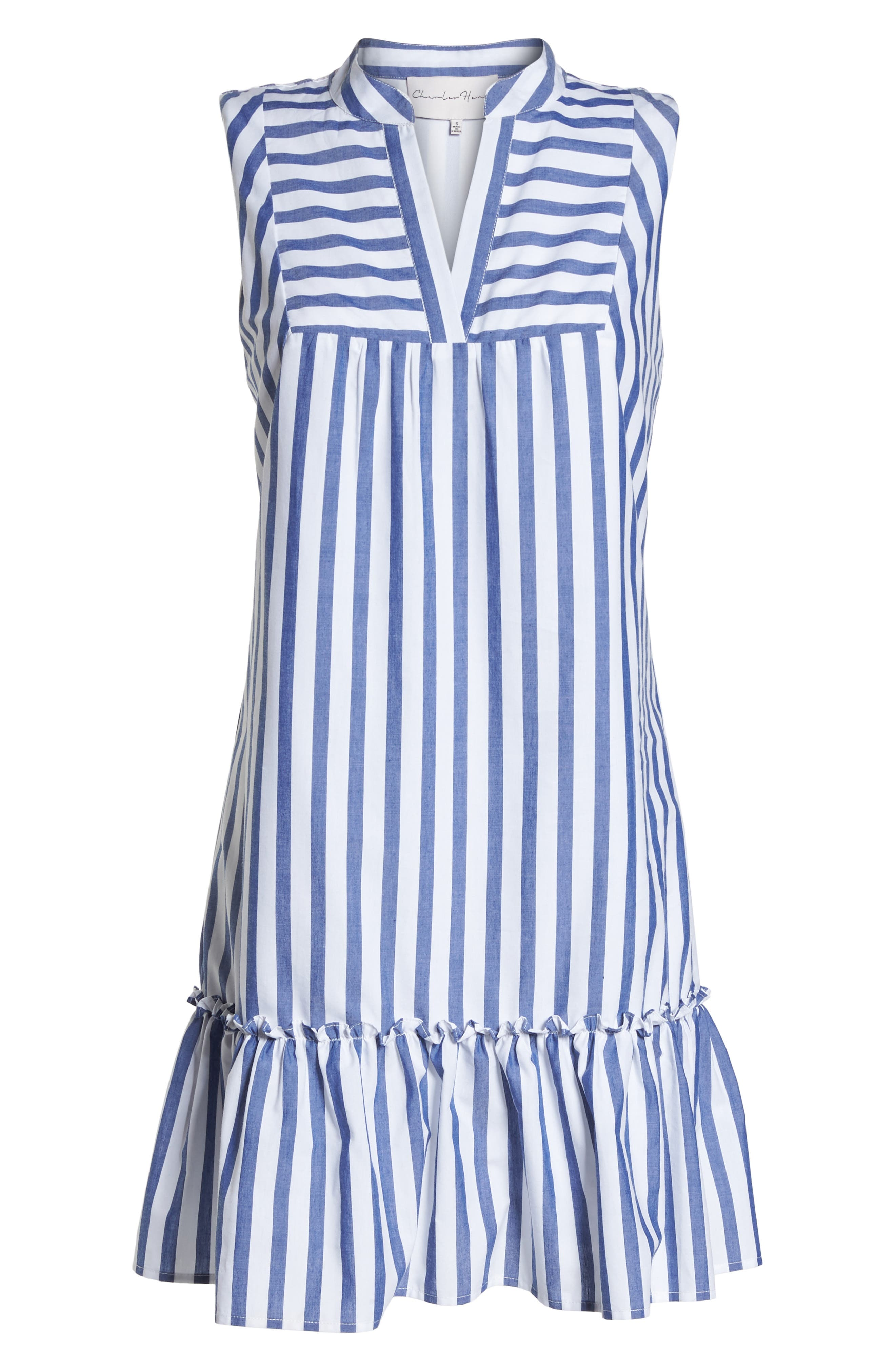 Stripe Bib Front Sleeveless Shift Dress,                             Alternate thumbnail 7, color,                             465