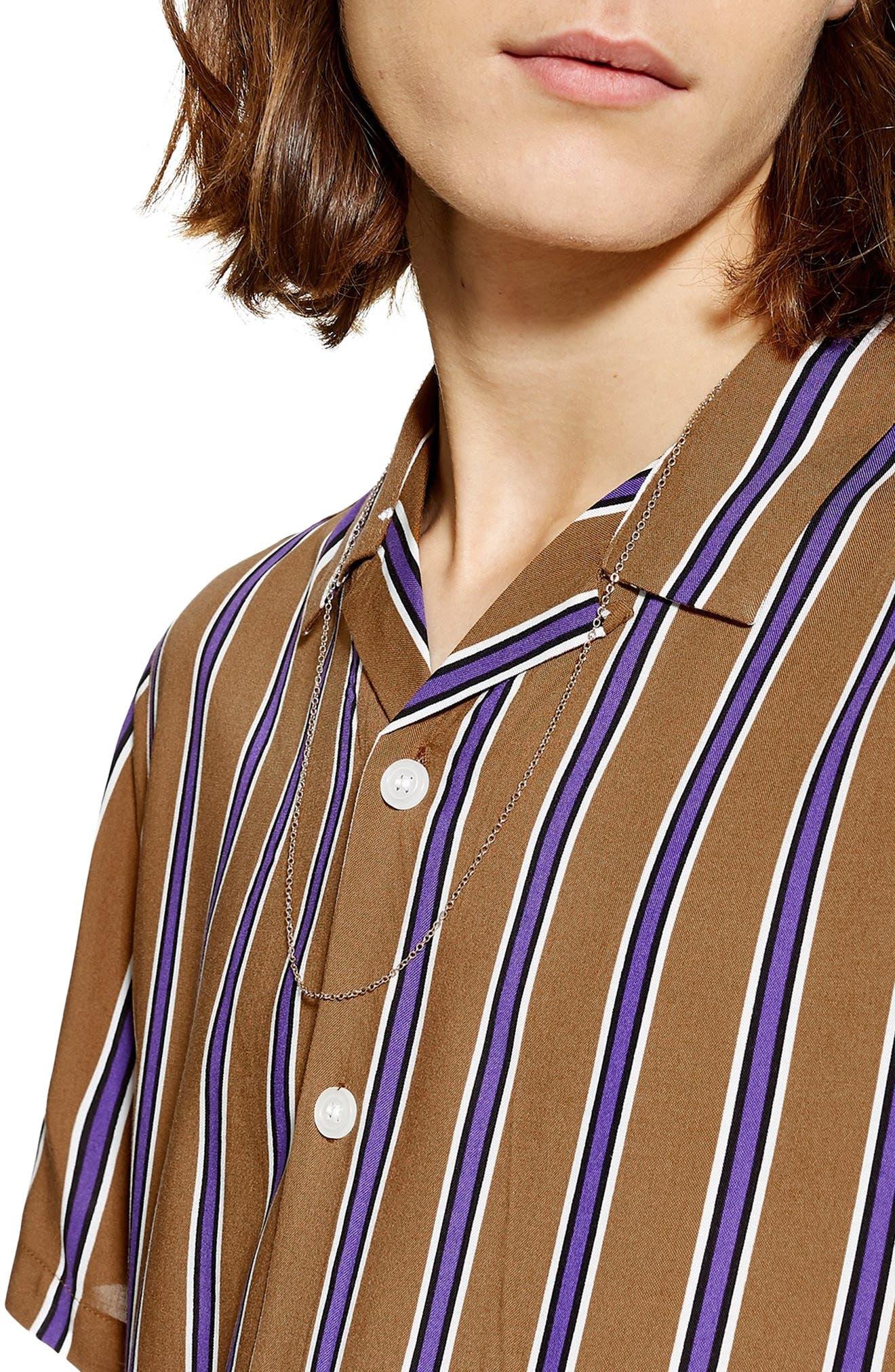 TOPMAN,                             Stripe Revere Collar Camp Shirt,                             Alternate thumbnail 2, color,                             BROWN MULTI