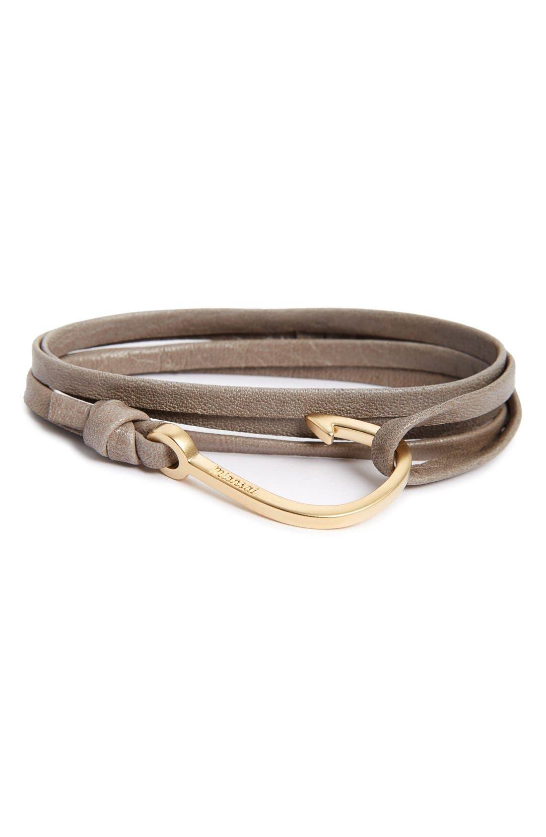 Hook On Leather Wrap Bracelet,                             Main thumbnail 1, color,