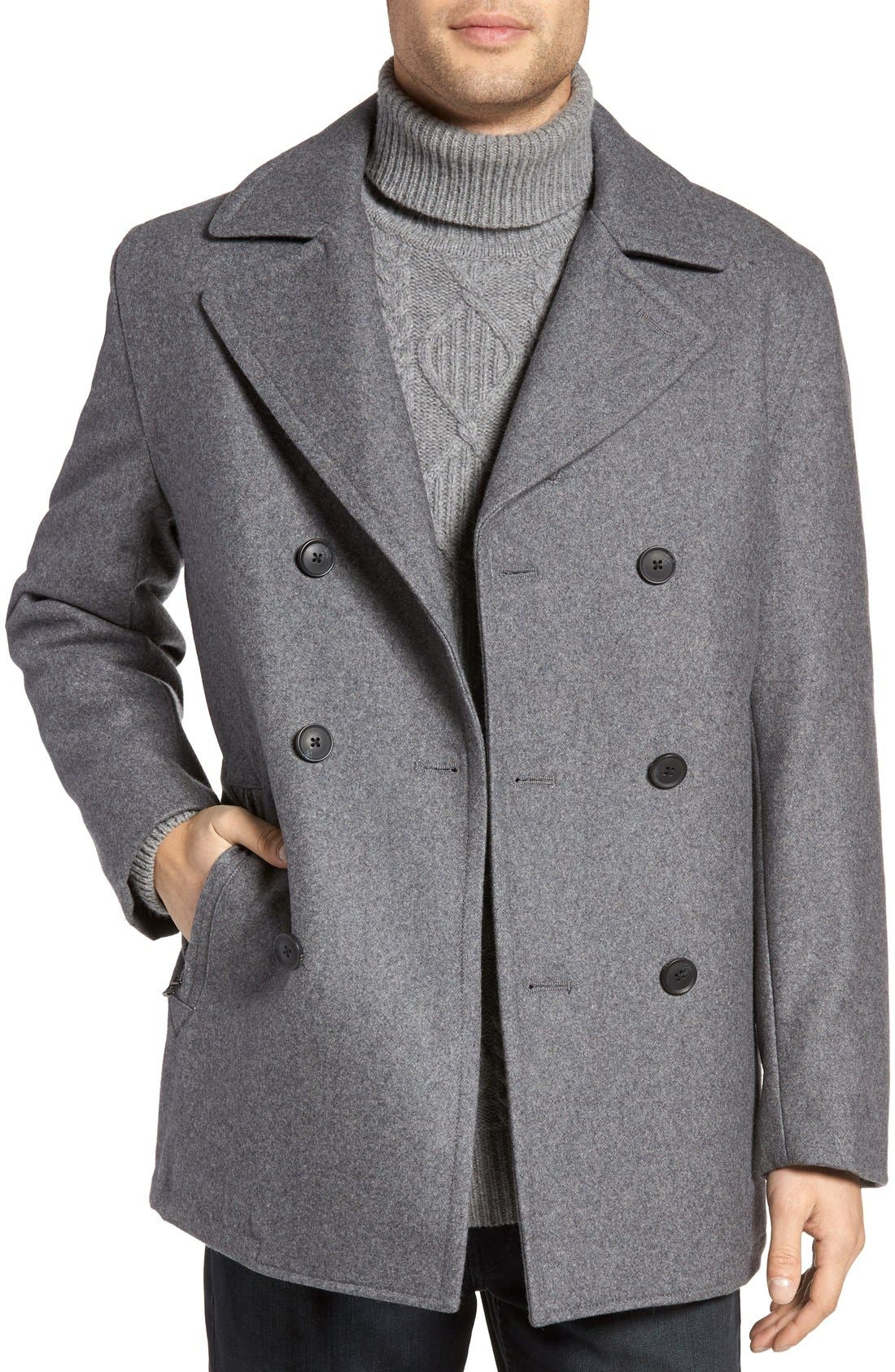 Wool Blend Double Breasted Peacoat,                             Main thumbnail 8, color,