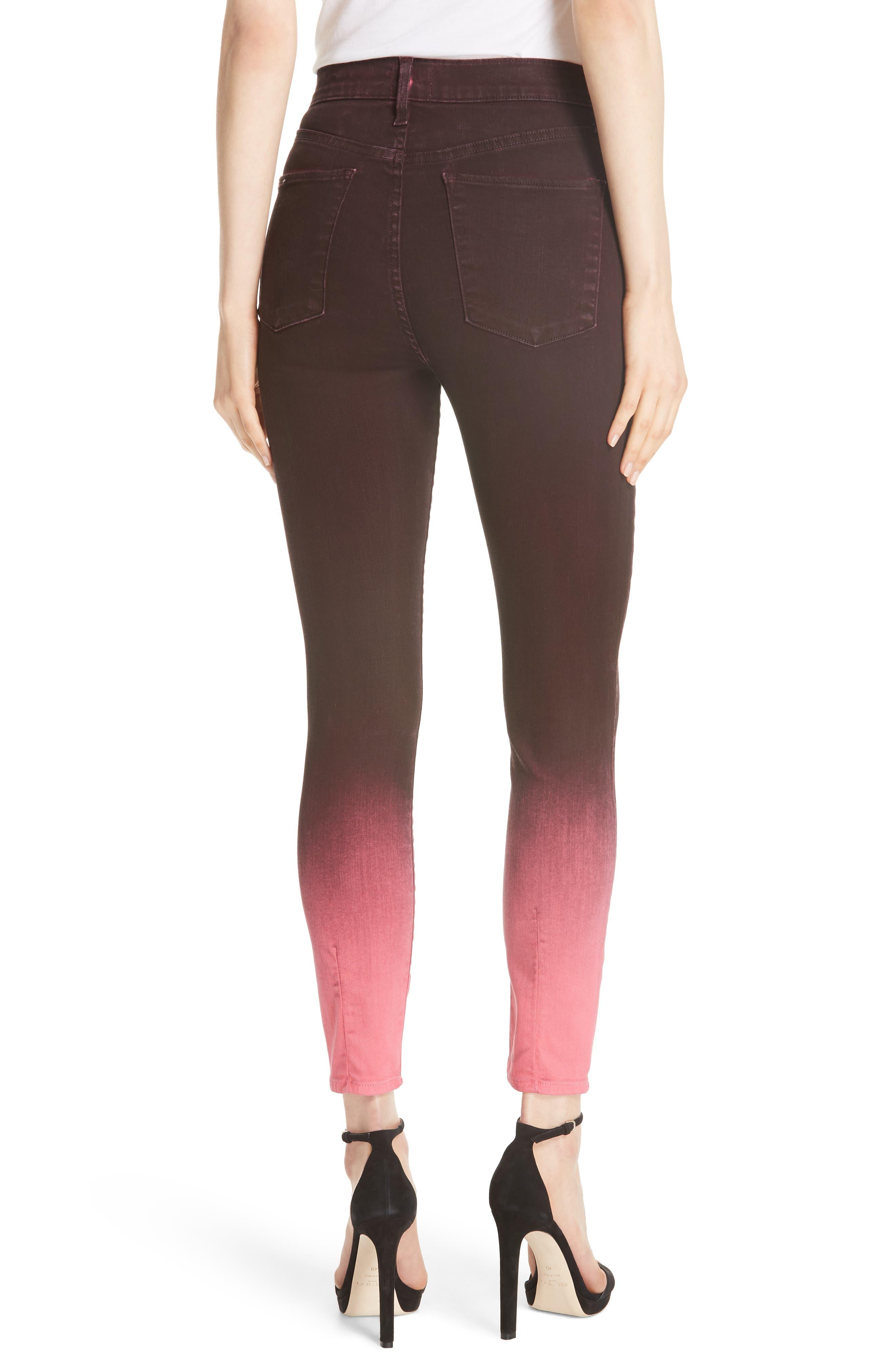 AO.LA Good High Waist Ankle Skinny Jeans,                             Alternate thumbnail 2, color,                             WINE/ BUBBLEGUM