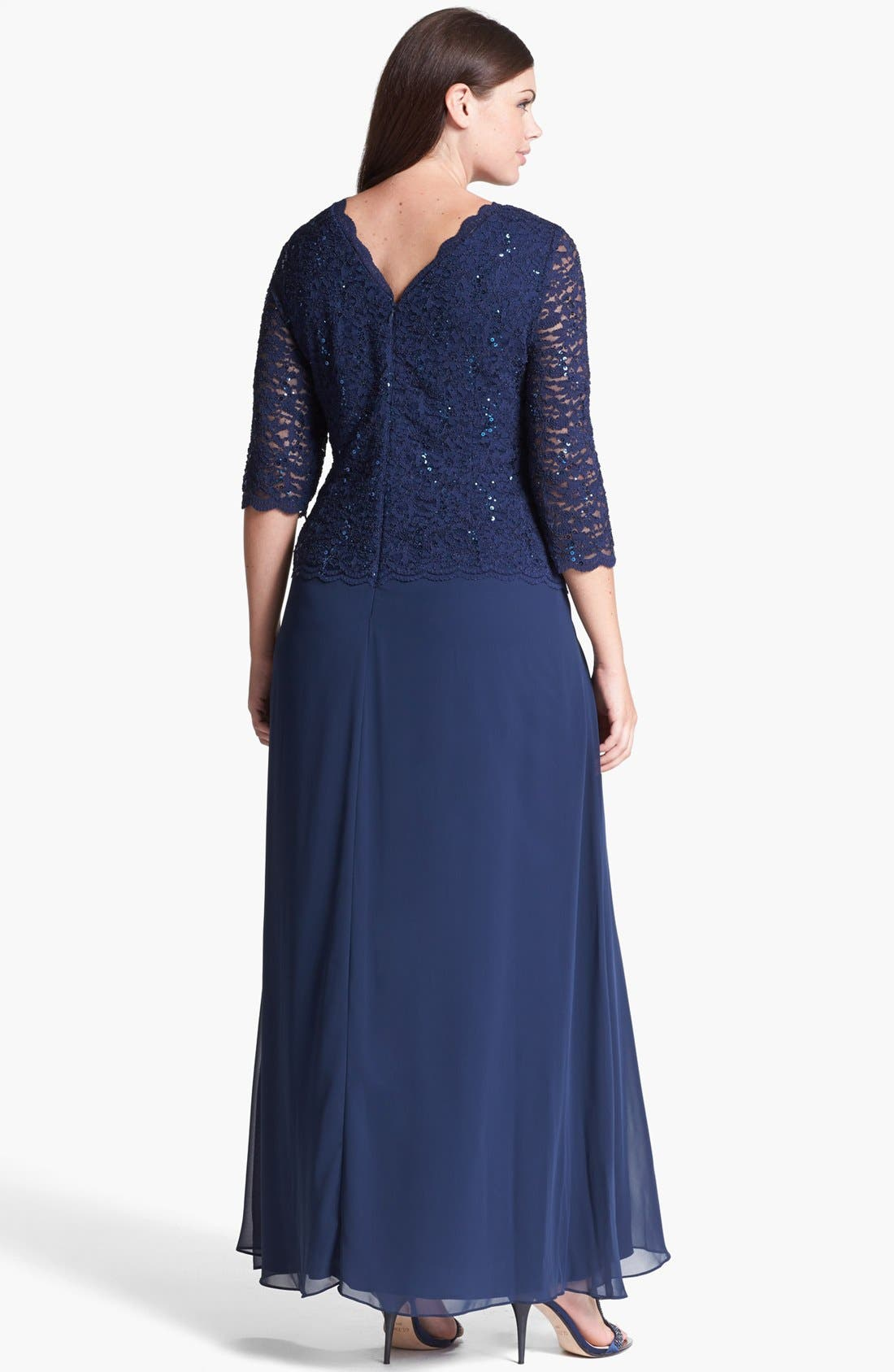 Embellished Lace & Chiffon Gown,                             Alternate thumbnail 8, color,                             NAVY