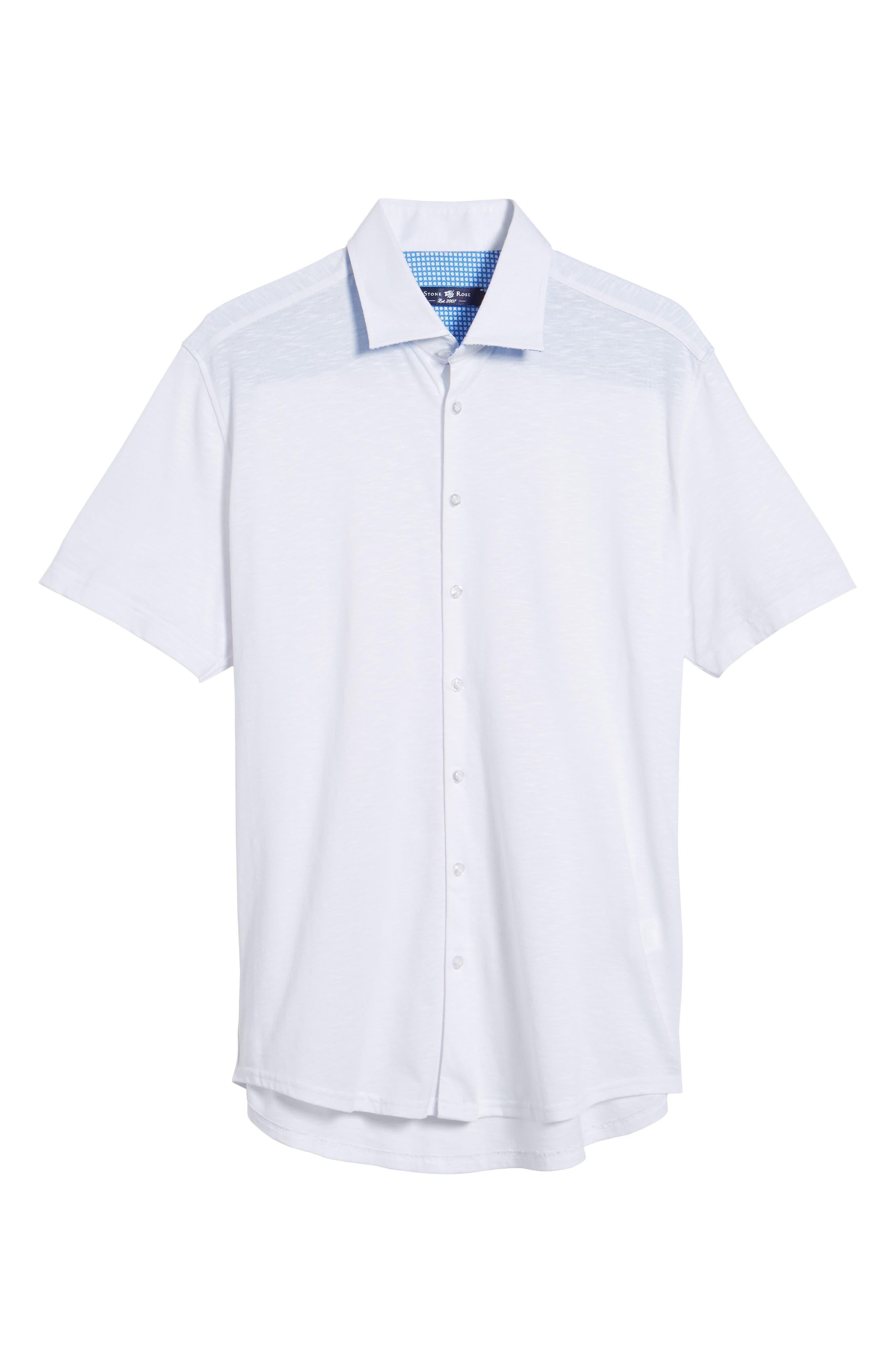 Slim Fit Flame Knit Sport Shirt,                             Alternate thumbnail 6, color,                             WHITE